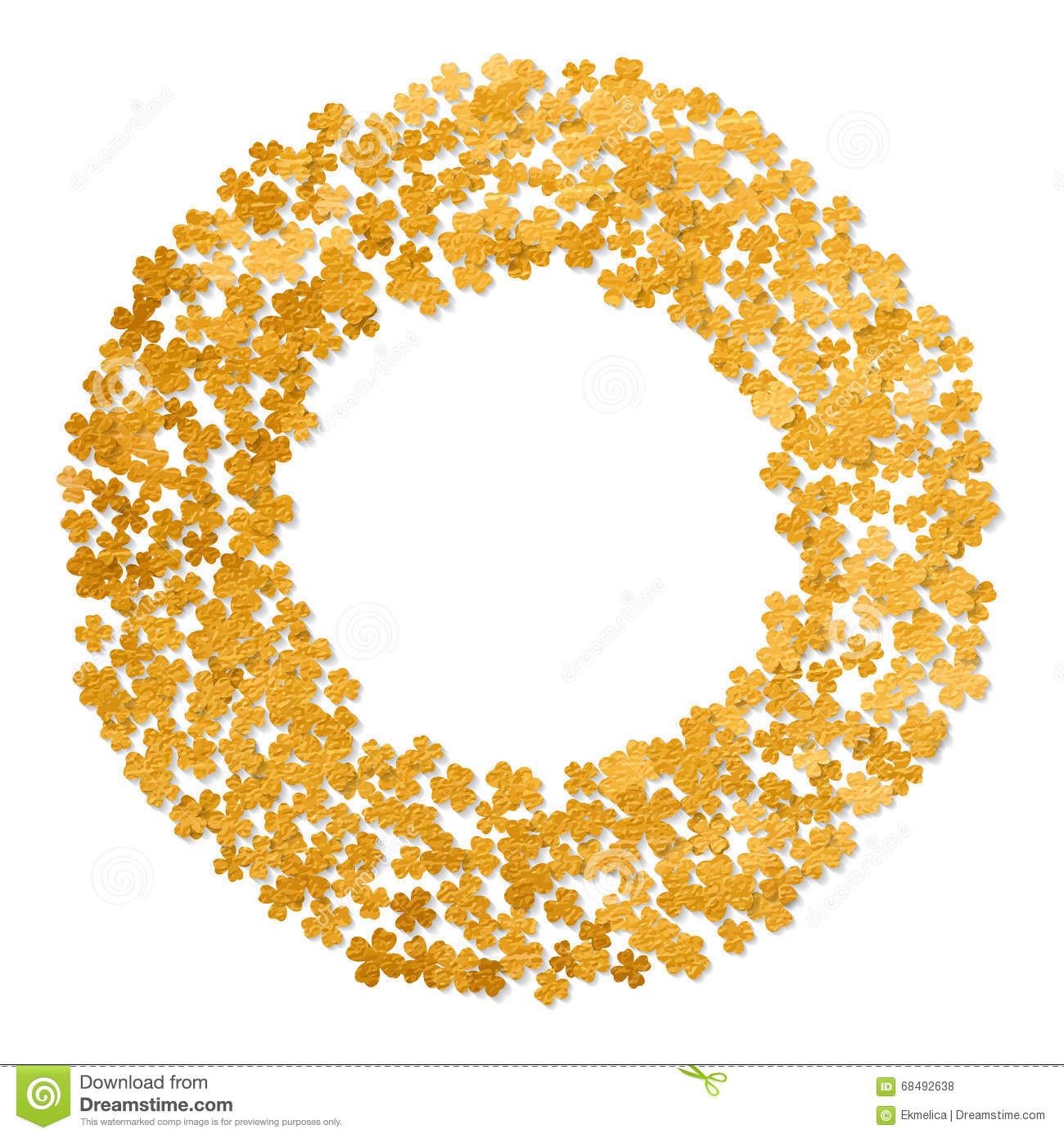 circle gold frame with clover leaves stock vector image