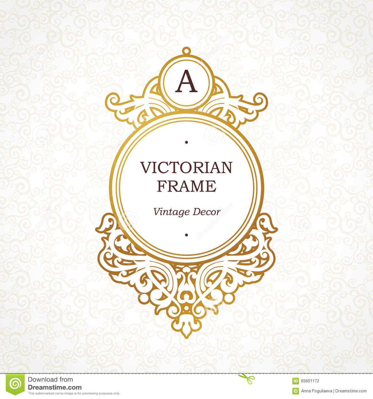 Circle Golden Frame In Victorian Style. Stock Illustration ...