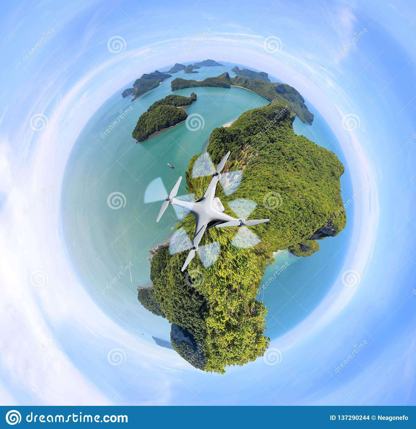 Circle Green planet, Panorama view of ang thong Island ,Archipelago in Thailand