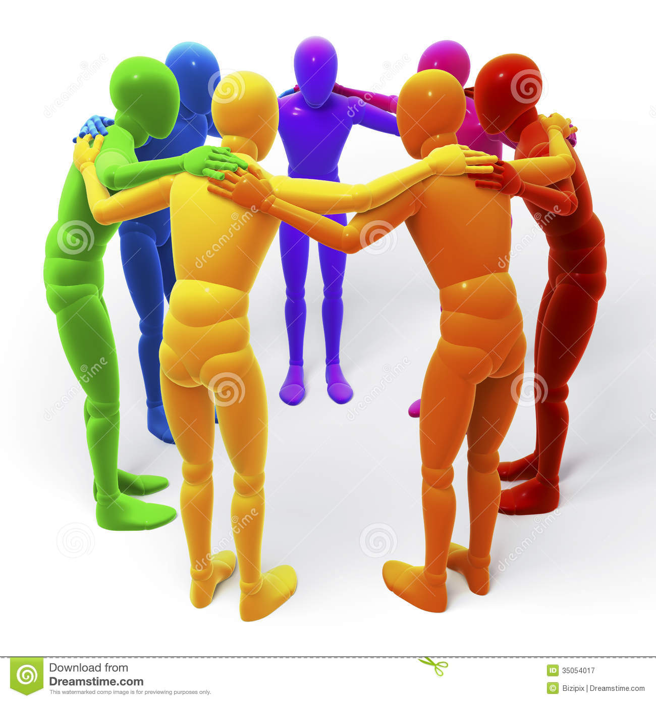 circle group of colored figures people stock