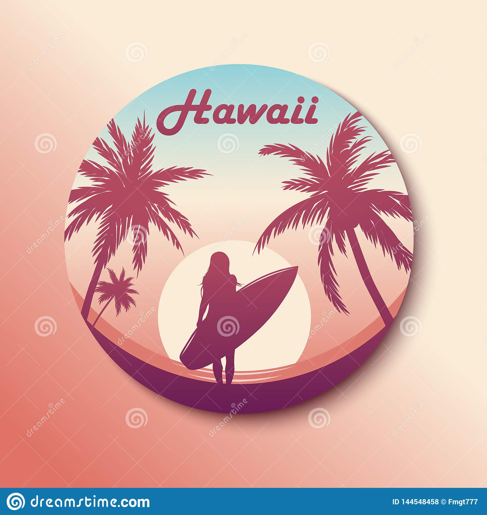 Circle Hawaii Sticker. Surfing girl. With shadow. Vector