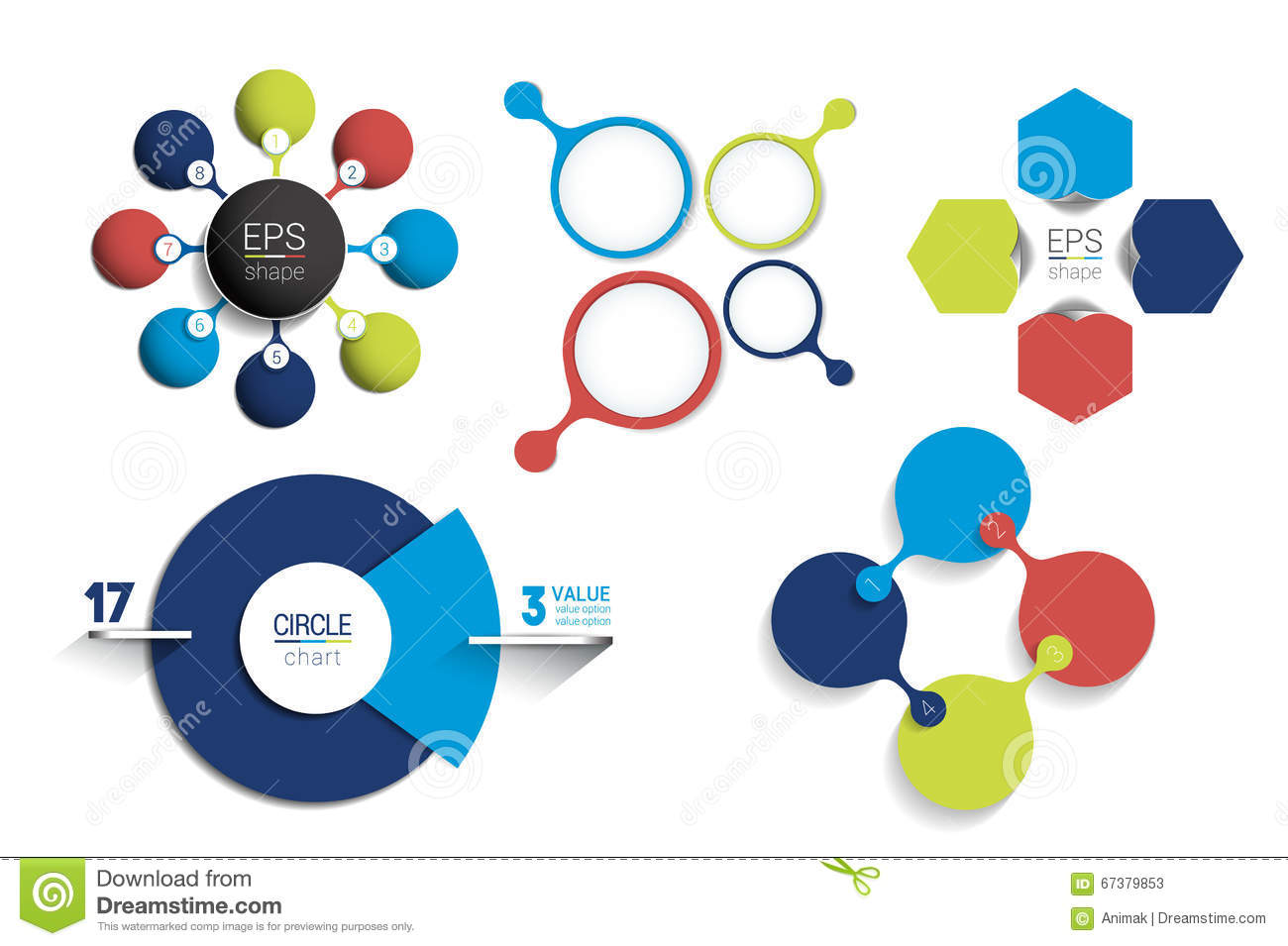 Circle infographic template. Round net diagram, graph, presentation, chart. Connected concept with 8 bubbles, options, steps, part