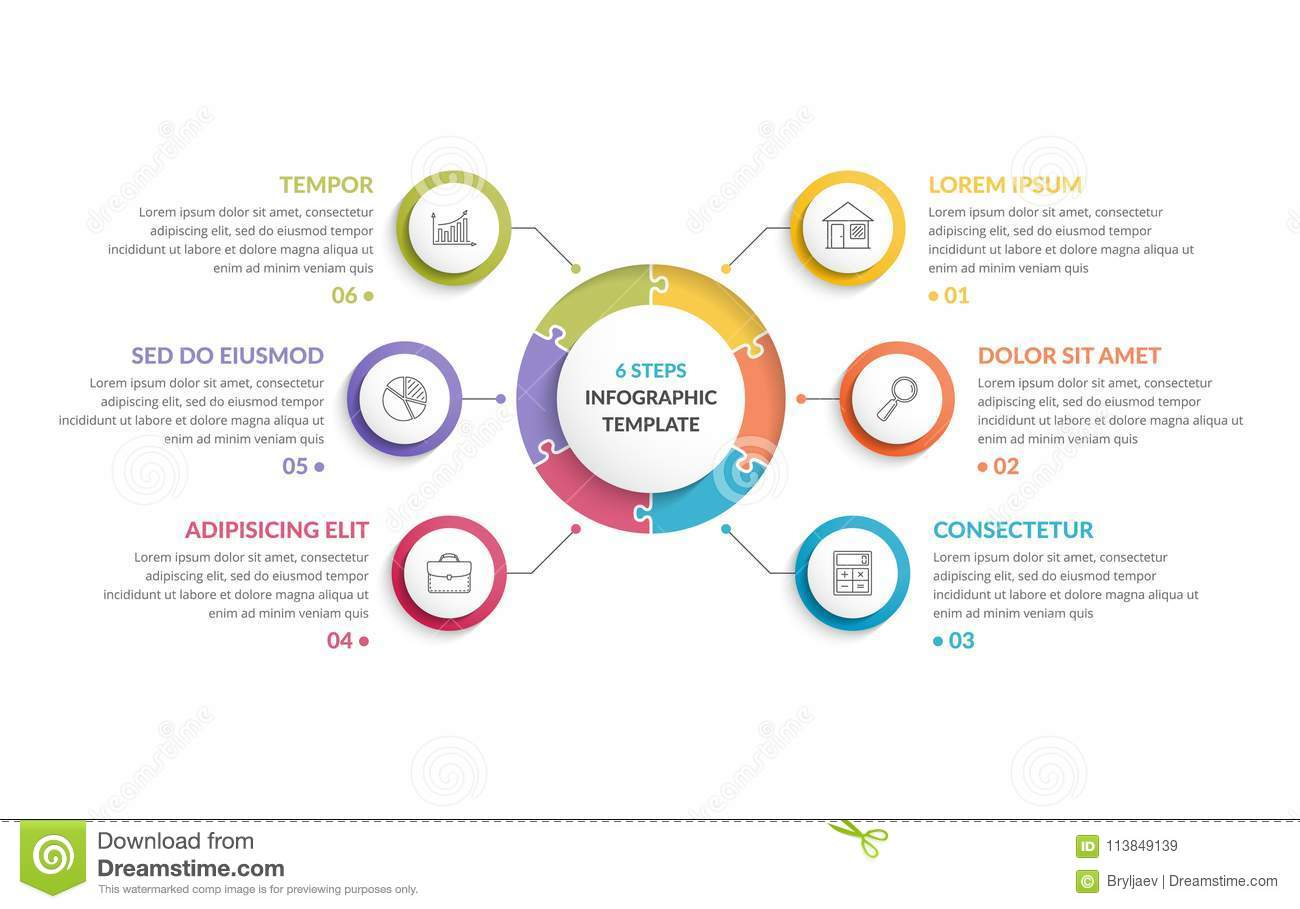 Circle Infographic Template With Round Puzzle Six Steps Or Options Process Chart Creative Business Infographics