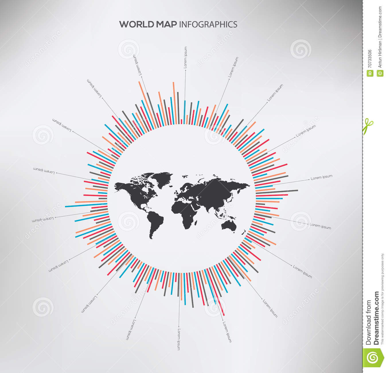 Circle infographic and world map flat vector stock vector circle infographic and world map flat vector gumiabroncs Images