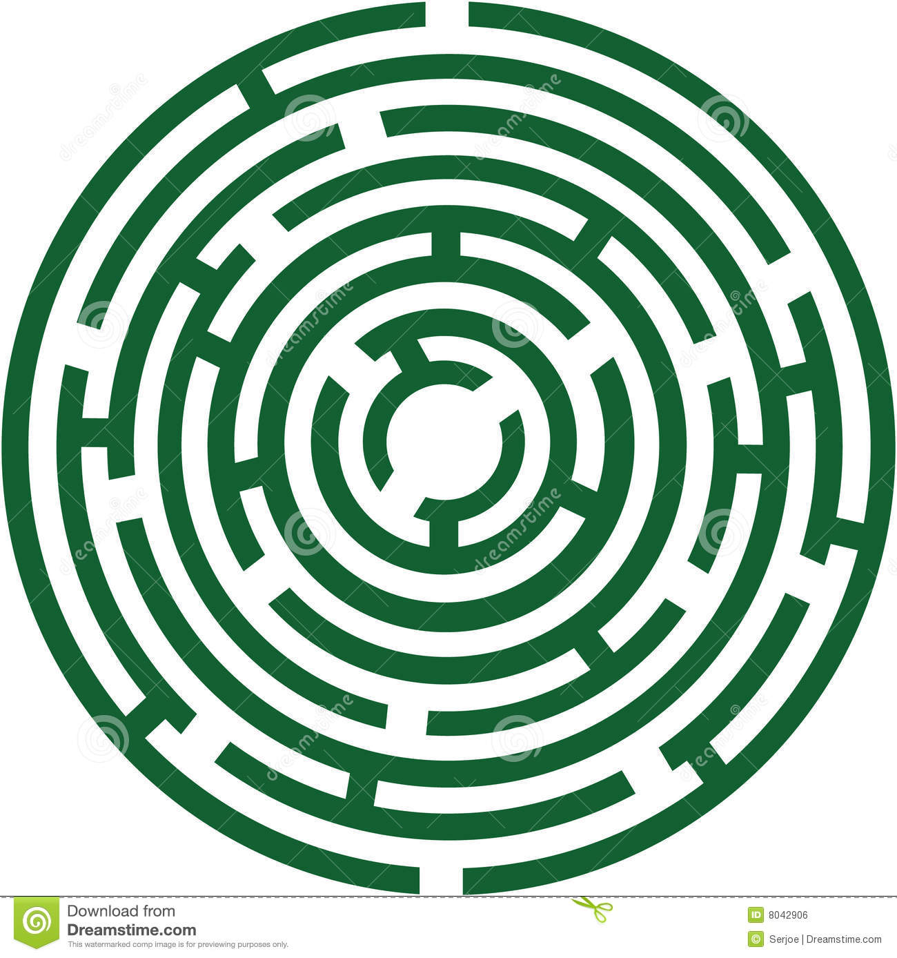 Circle labyrinth stock vector  Illustration of maze, green