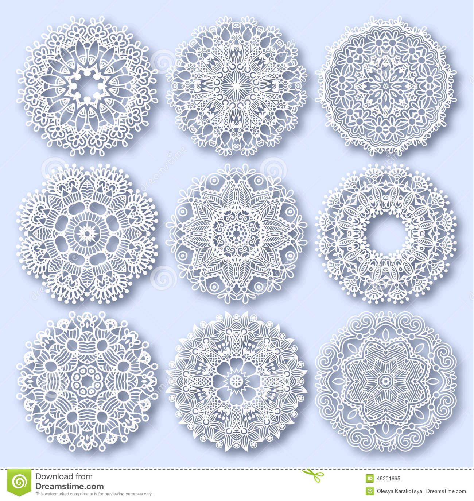 Circle lace ornament, round ornamental geometric