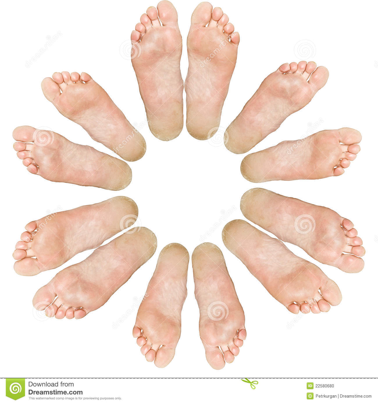 The large and small feet. Circle. Isolated over white background.