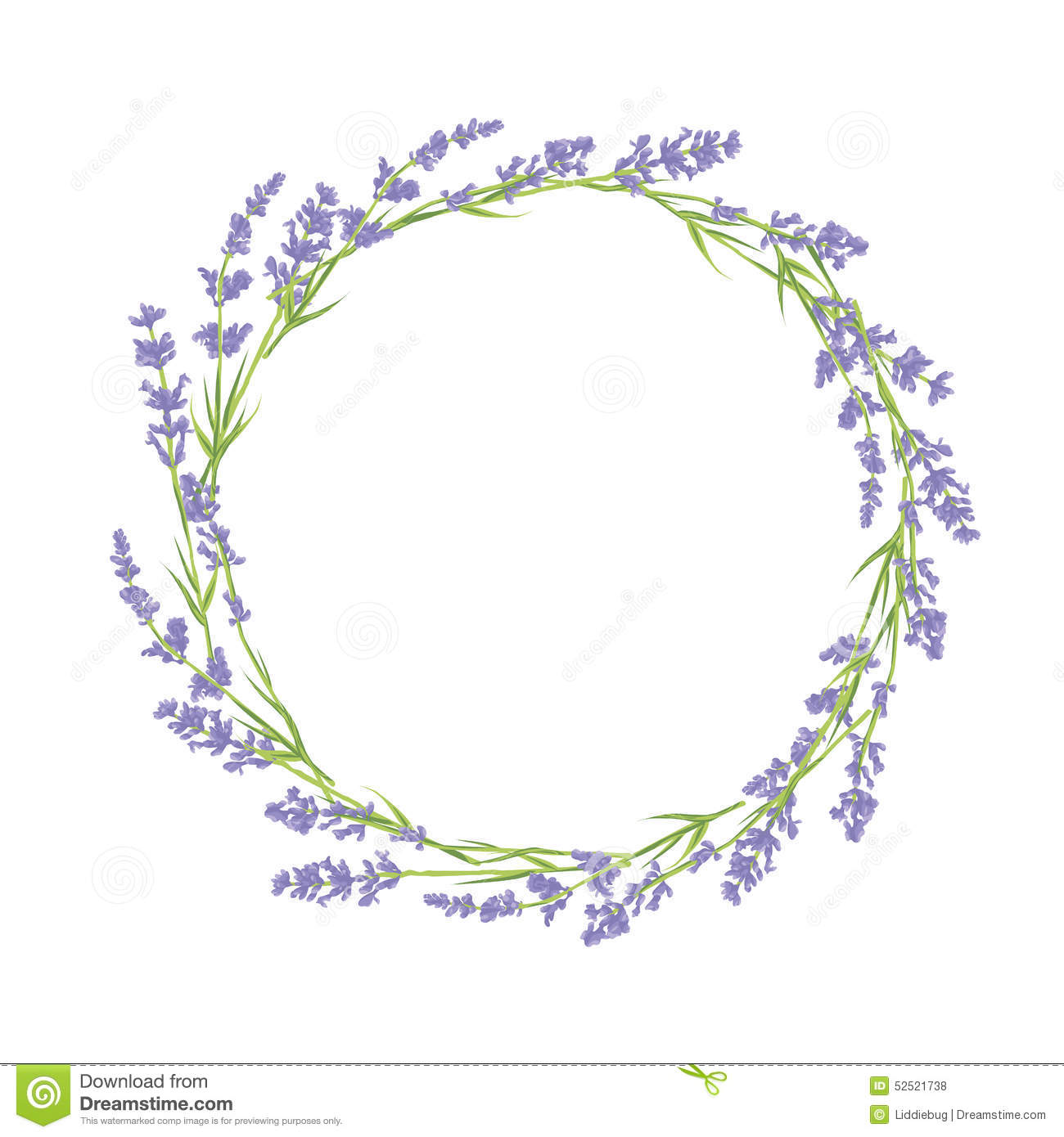 Circle Of Lavender Flowers Stock Vector Image 52521738