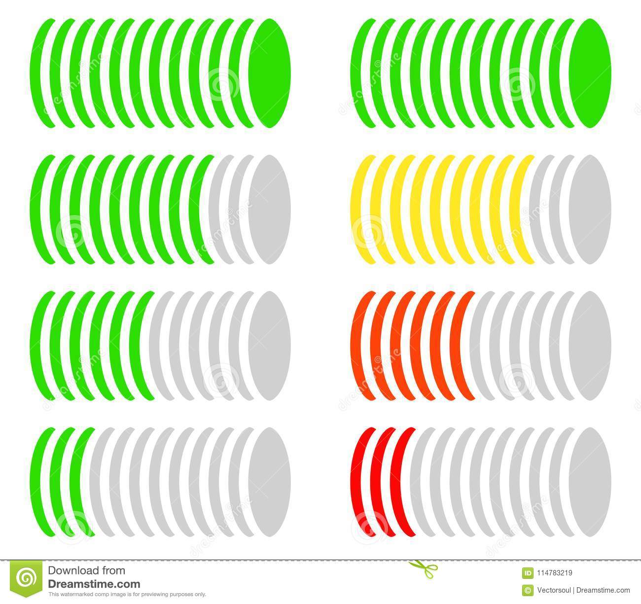 Circle Level Meter, Gauge, Comparison Chart  Color Coded
