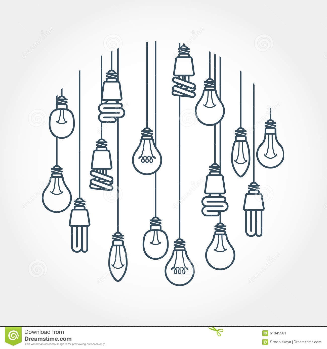 Circle Of Light Bulb Hanging On Cords Stock Vector