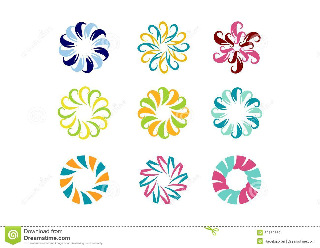 Circle Logo, Floral Template,Set Of Round Abstract ...