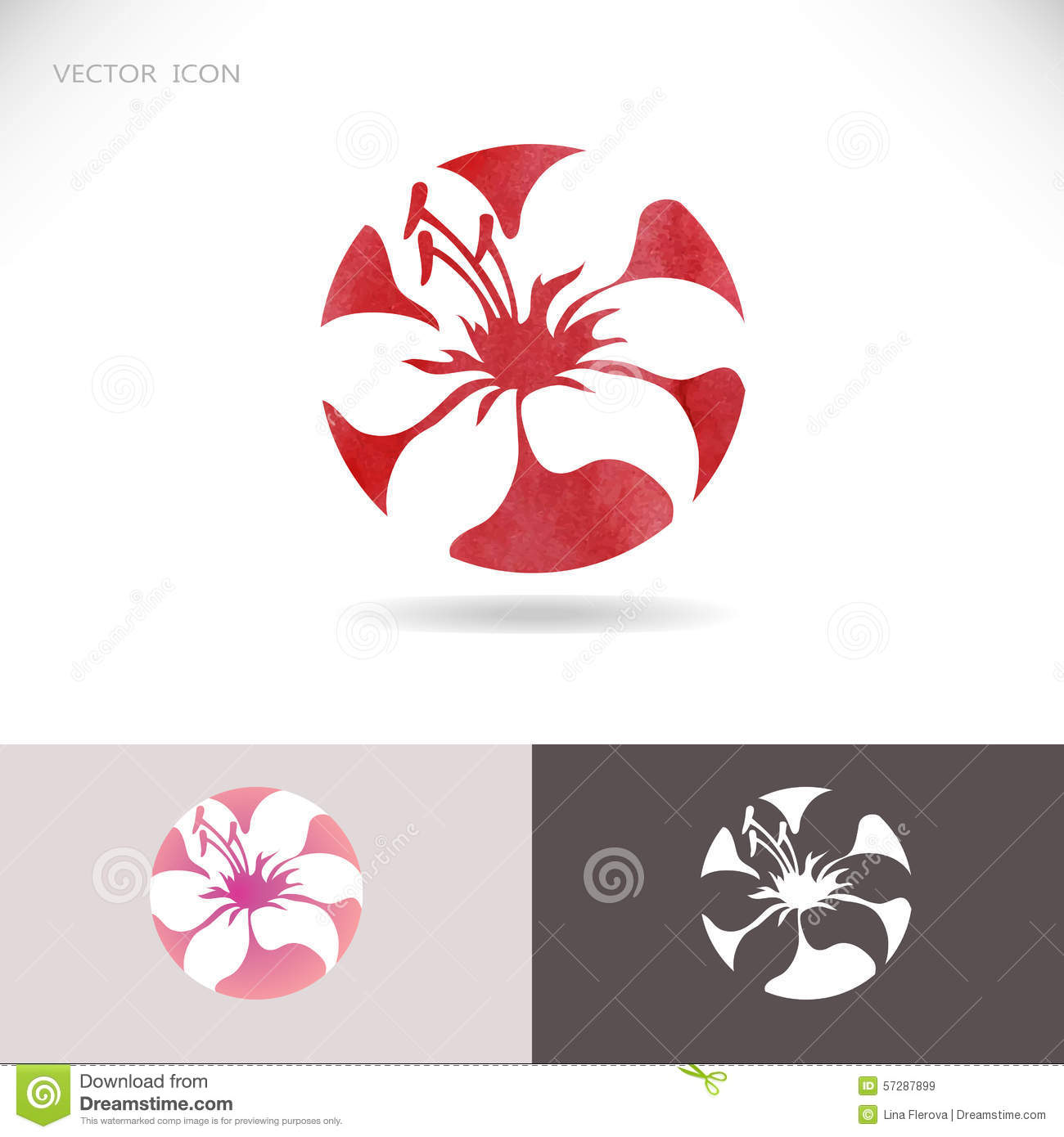 circle logo with flower, lily on a red background. stock vector, Beautiful flower