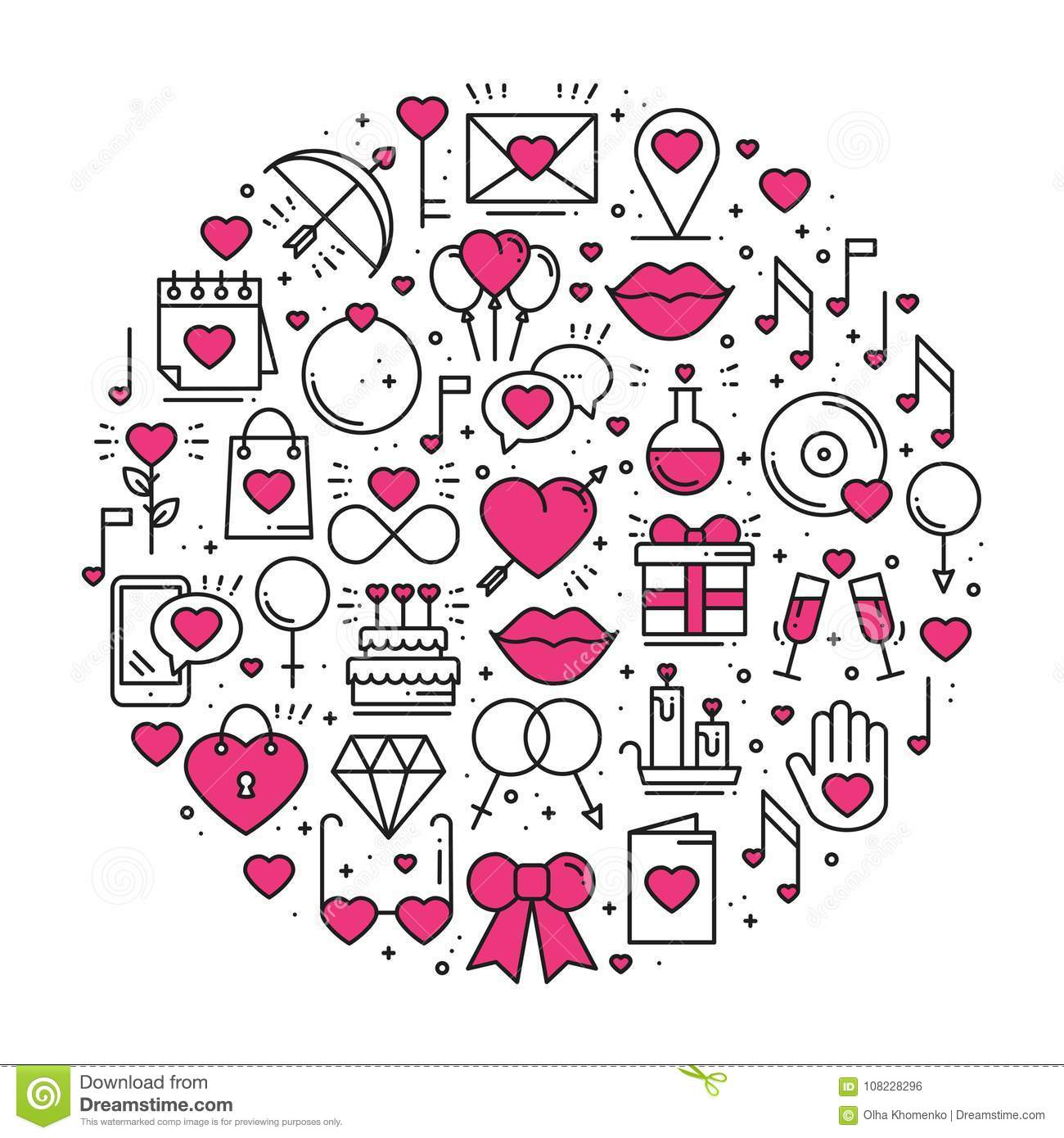 Circle With Love Symbols In Line Style. Love Couple Relationship ...