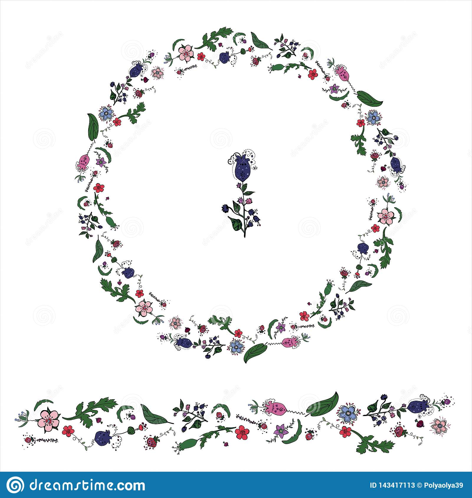 Circle made from floral dudling elements whith wreath