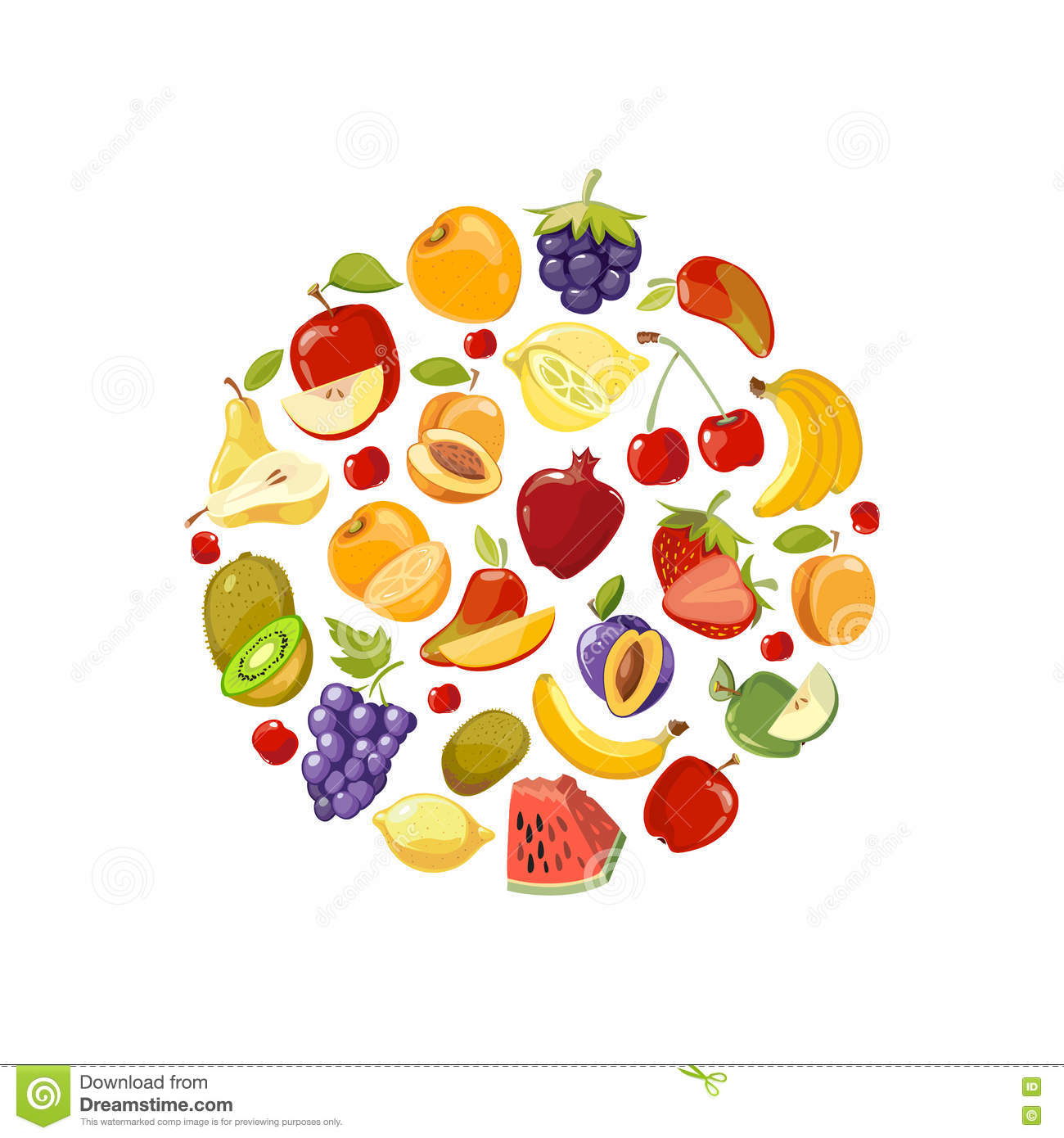 Cooking Concept Flat Icons Set Stock Vector: Circle Made Of Fruits Vector Flat Icons. Healthy Organic