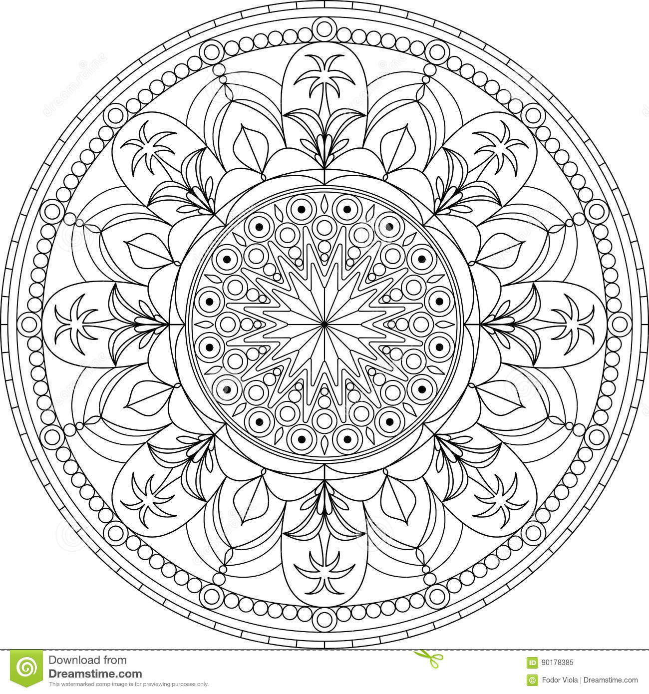 Circle Mandala Adult Coloring Page, With Palm Tree Stock Vector ...