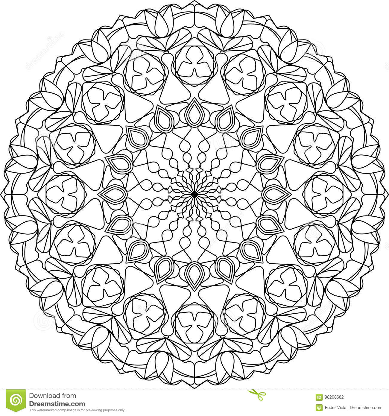 Download Circle Mandala Adult Coloring Page With Tulips Motifs Stock Vector