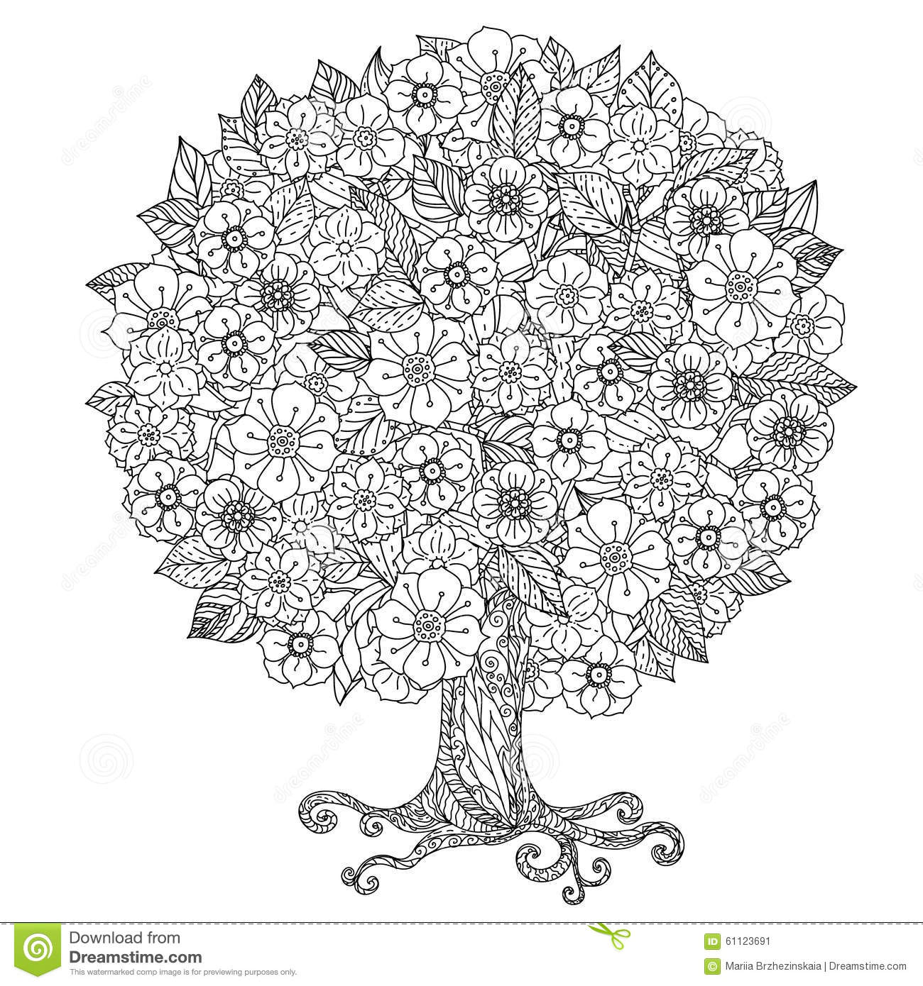 Circle Orient Floral Black And White Stock Vector Image