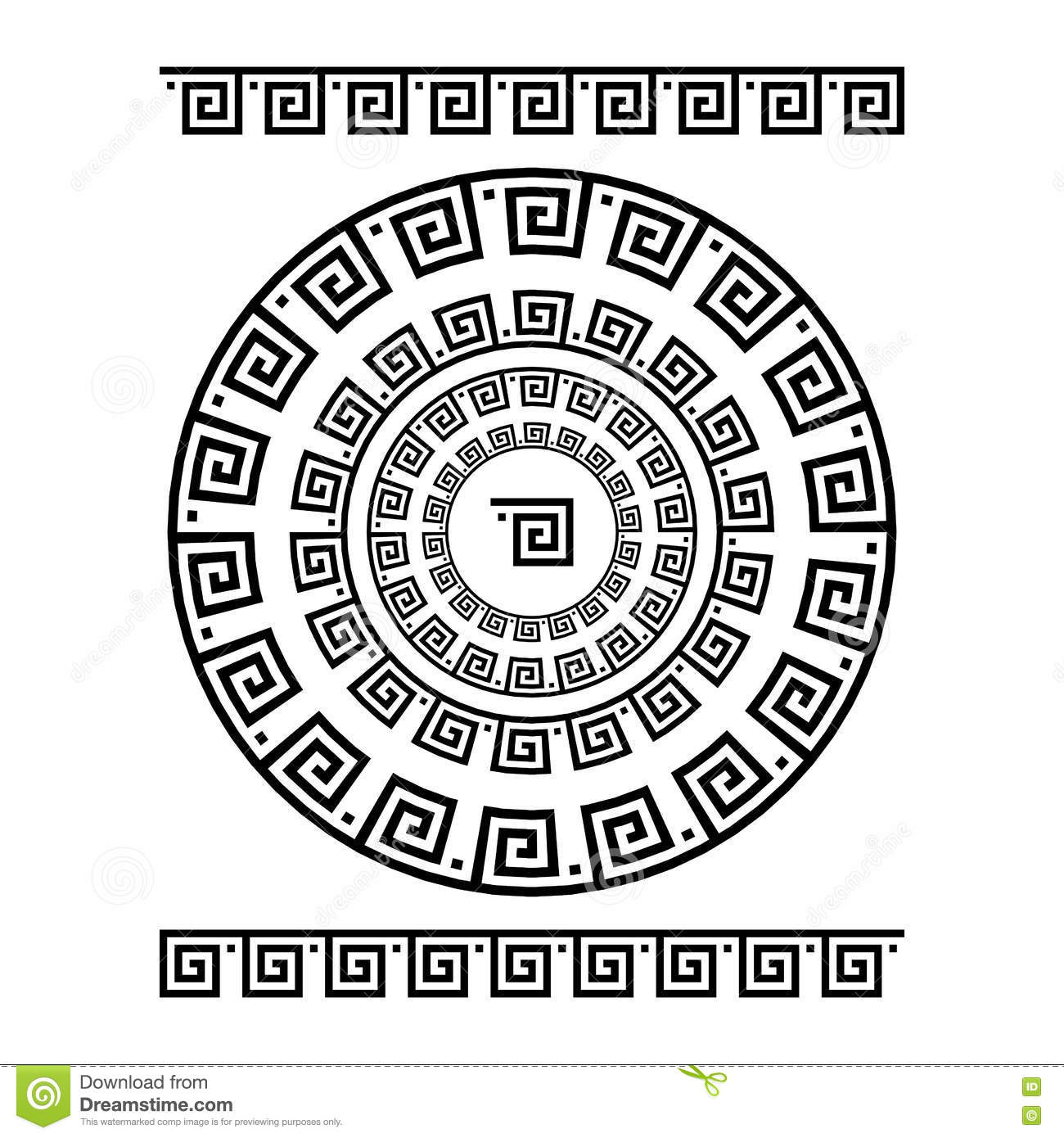 Circle Ornament Meander. Round Frame, Rosette Of Ancient Elements ...