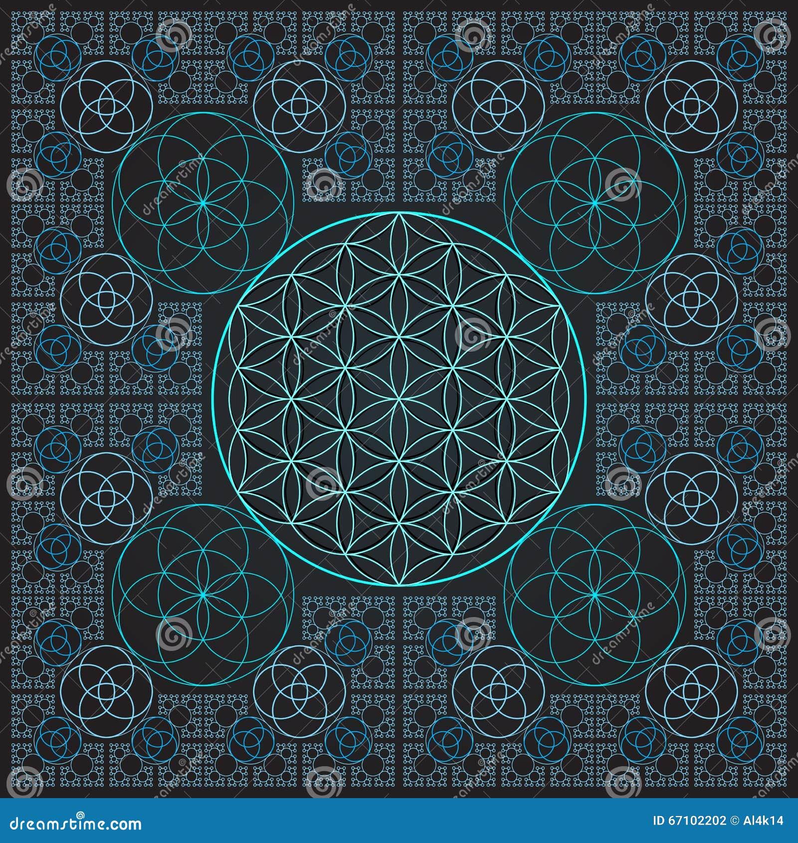 Circle Outline Flower Of Life Fractal Sacred Geometry