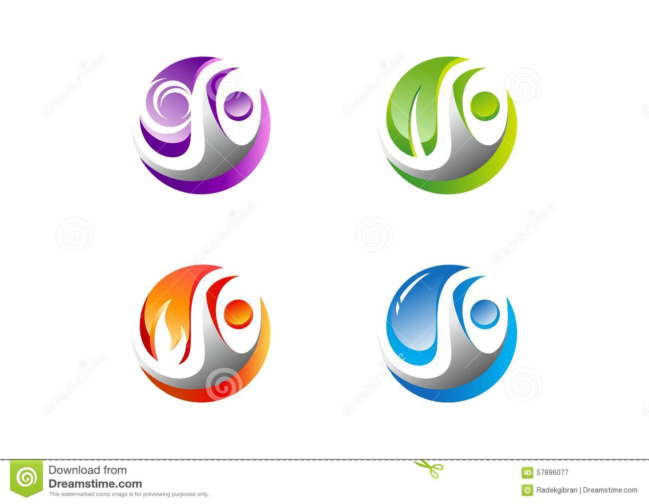 Circle,people,water,wind,flame,leaf,logo, Set of four nature element icon symbol vector design