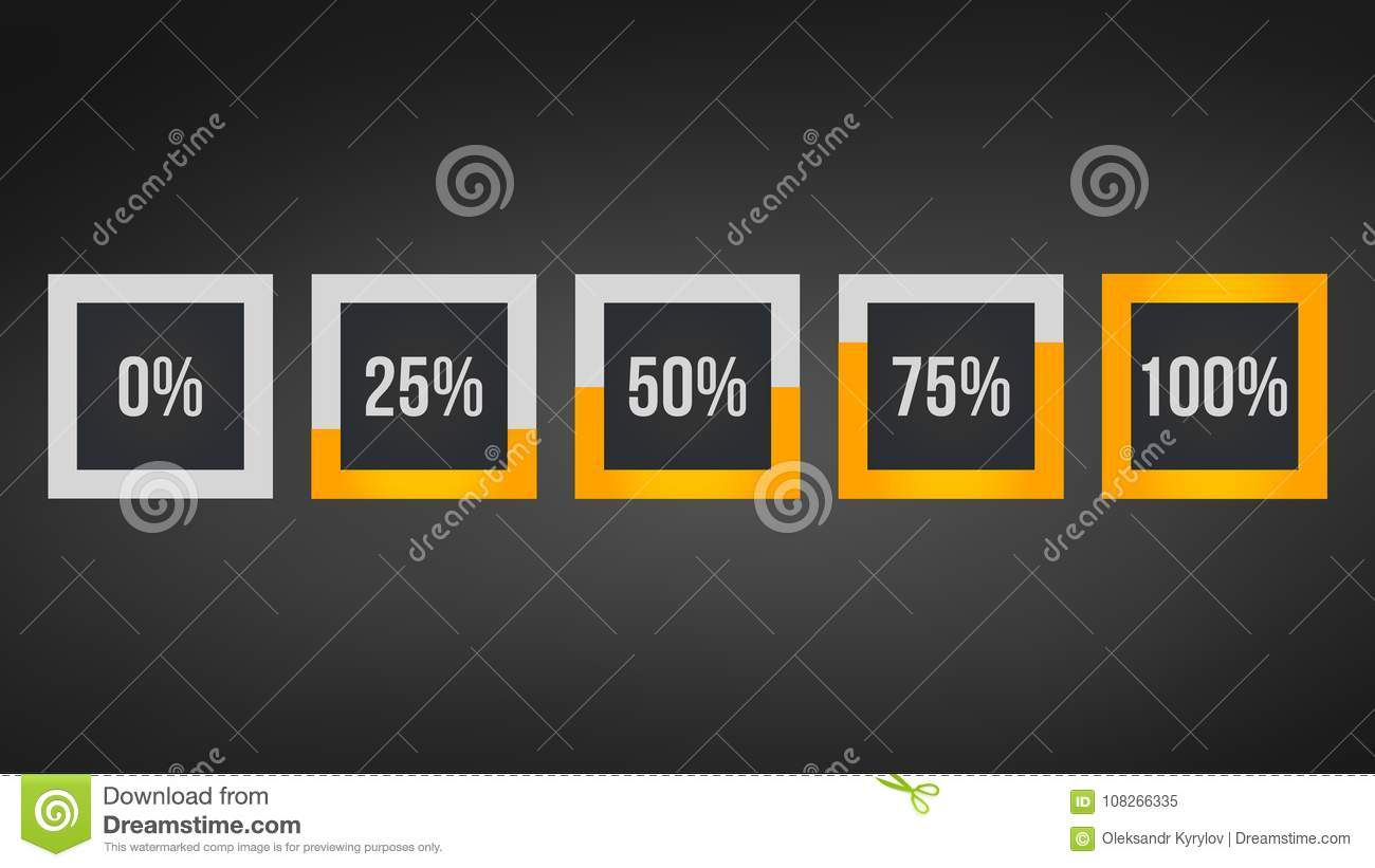 circle percentage,Performance analysis in percent, square number 0,25,50,75,100, infographic isolated on black background