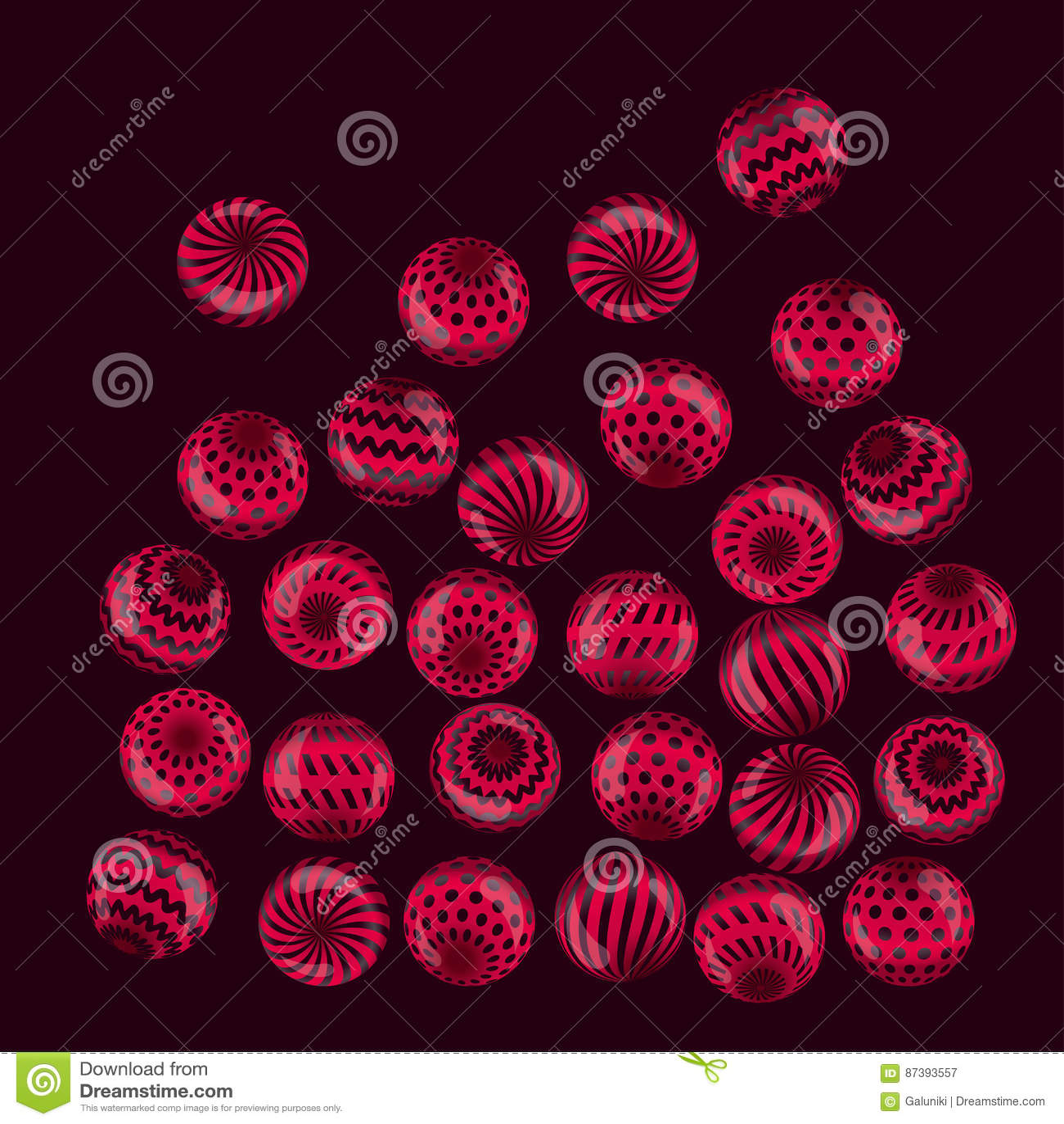 Crimson Circle Studio Creative Spaces: Circle Red Beads Necklaces On Black Background. Cartoon