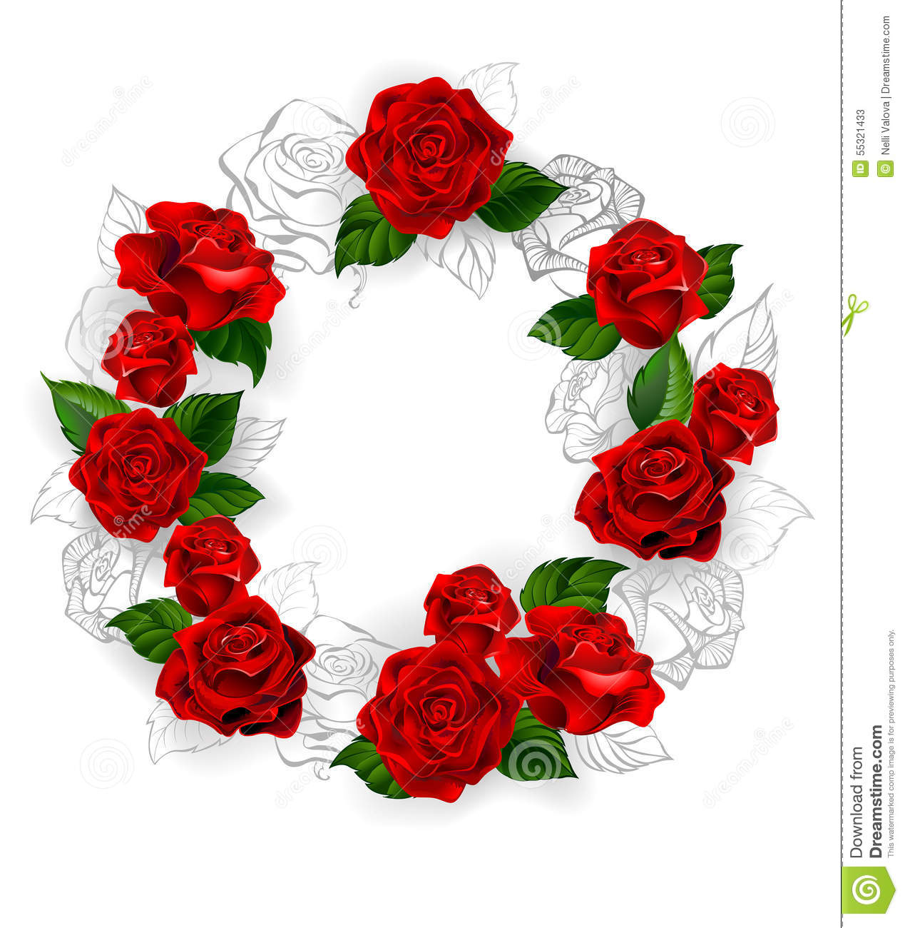 Circle Of Red Roses Stock Vector
