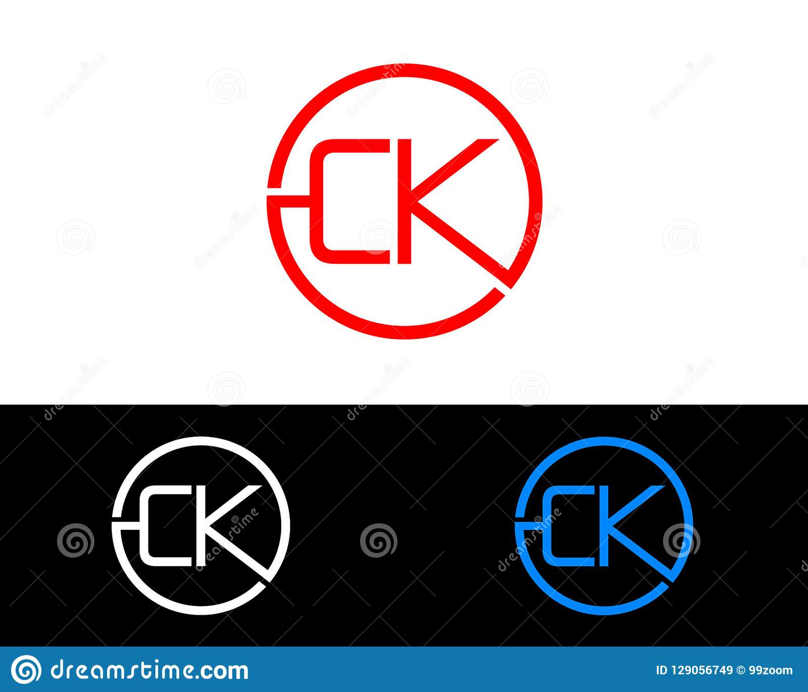 CK Circle Shape Letter Logo Design Stock Vector