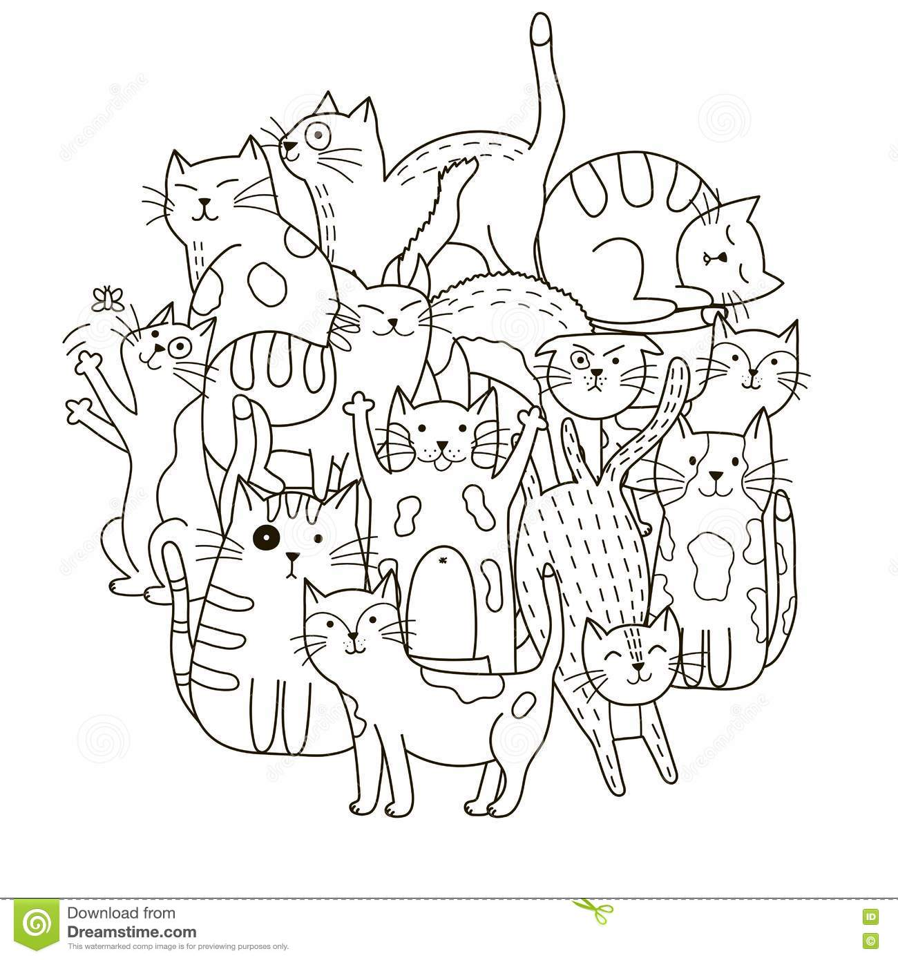 Circle Shape Pattern With Cute Cats For Coloring Book Stock Vector ...