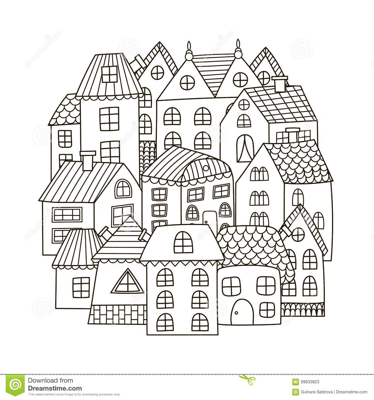 Circle Shape Pattern With Houses For Coloring Book Stock I Tolerate You Coloring Page