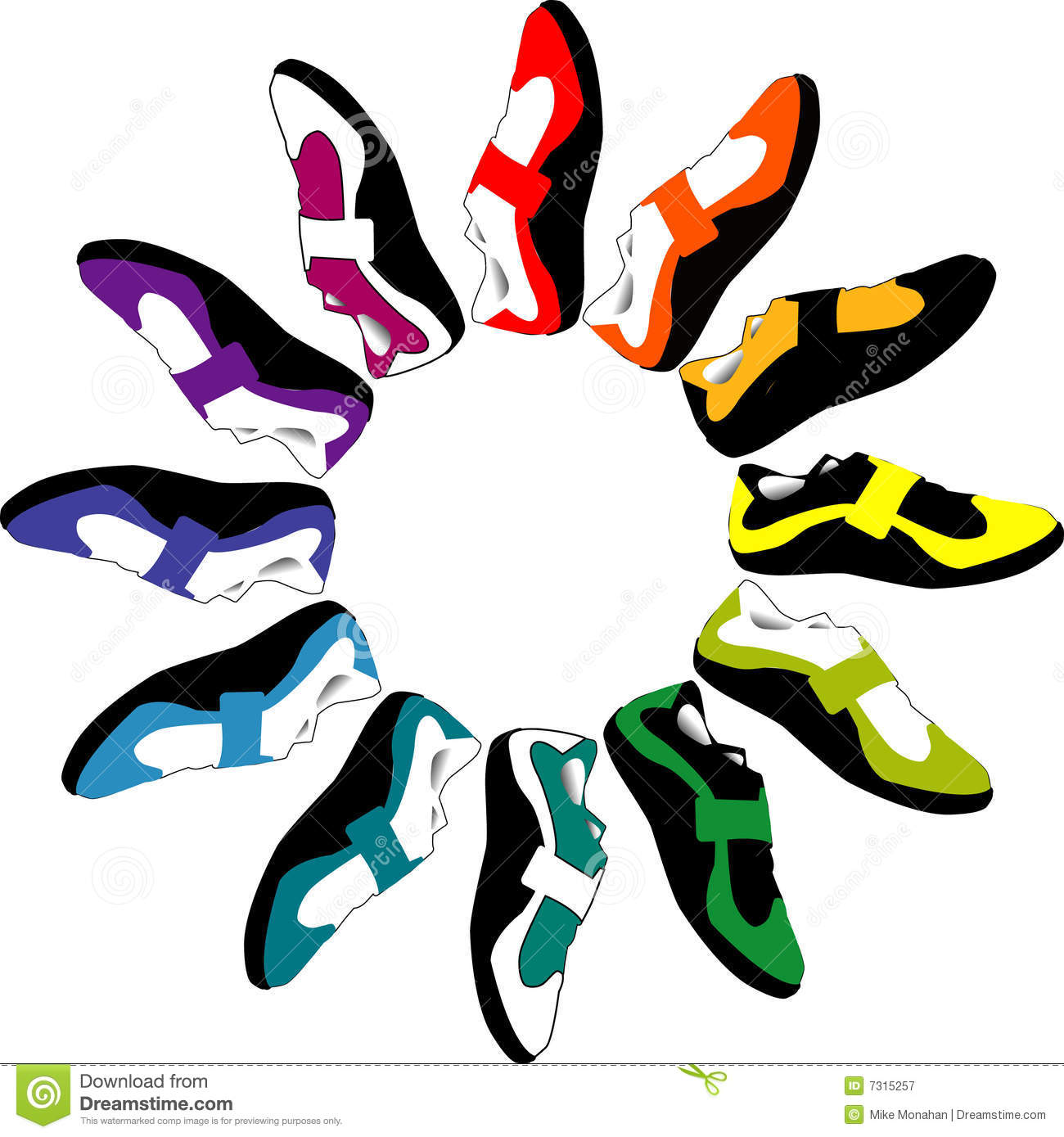 730feb0d59c9 An illustrated view of a circle of various colored shoes on a white  background.