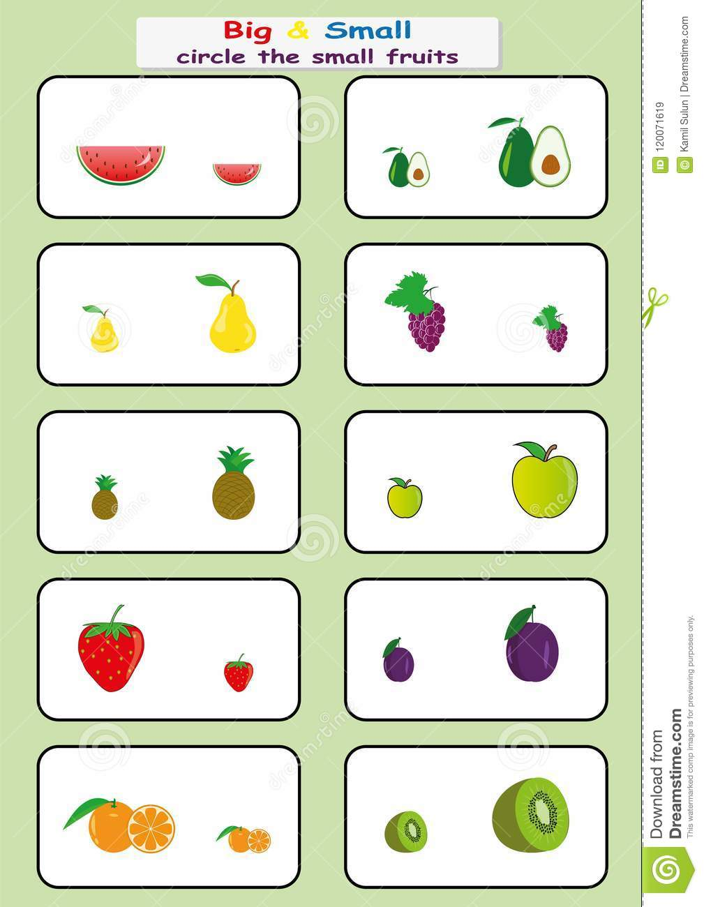 Circle The Small Fruits, Find Big Or Small Worksheet For Kids ...