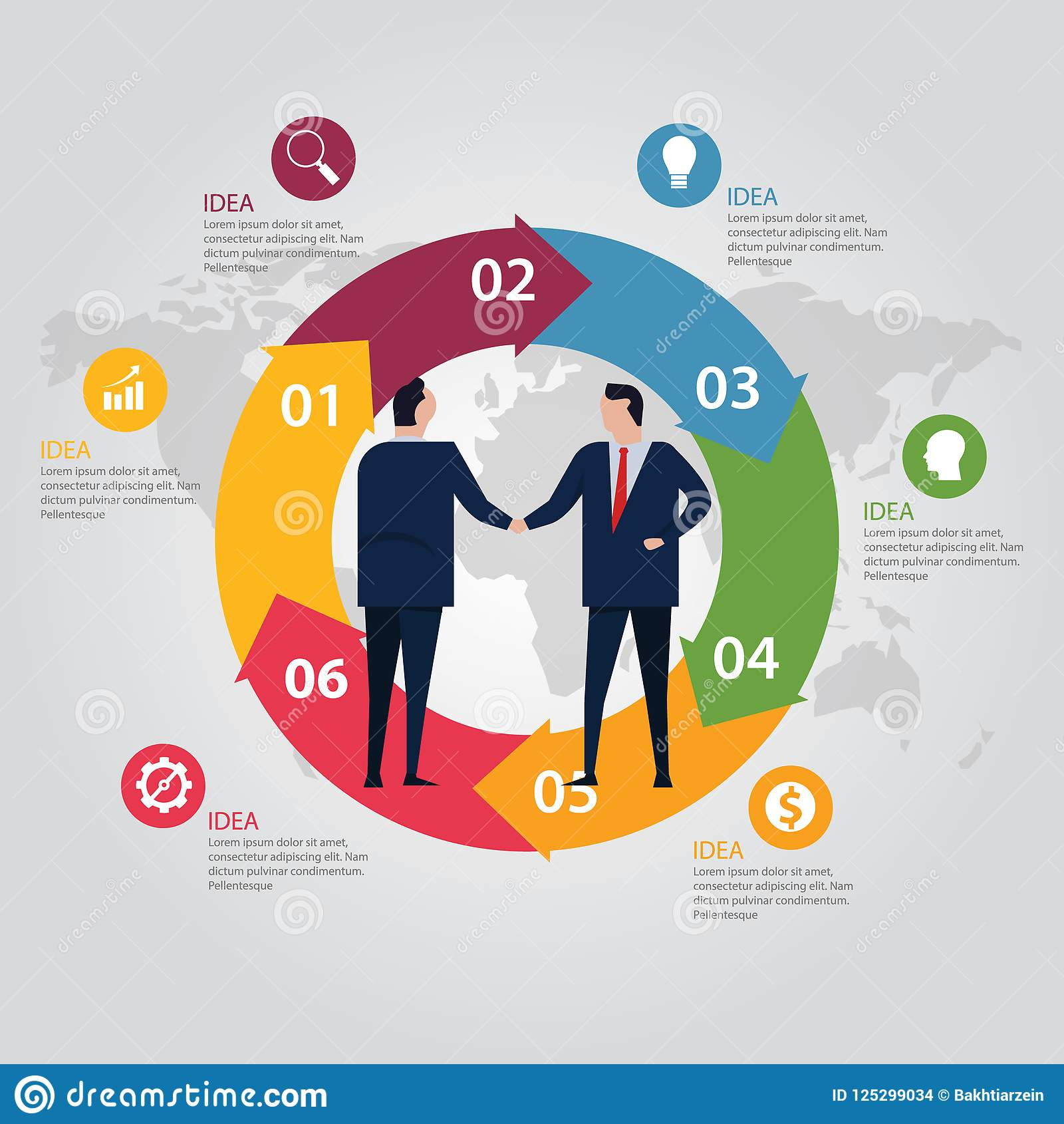 Circle Step Info Graphic World Map Color Business People Agreement