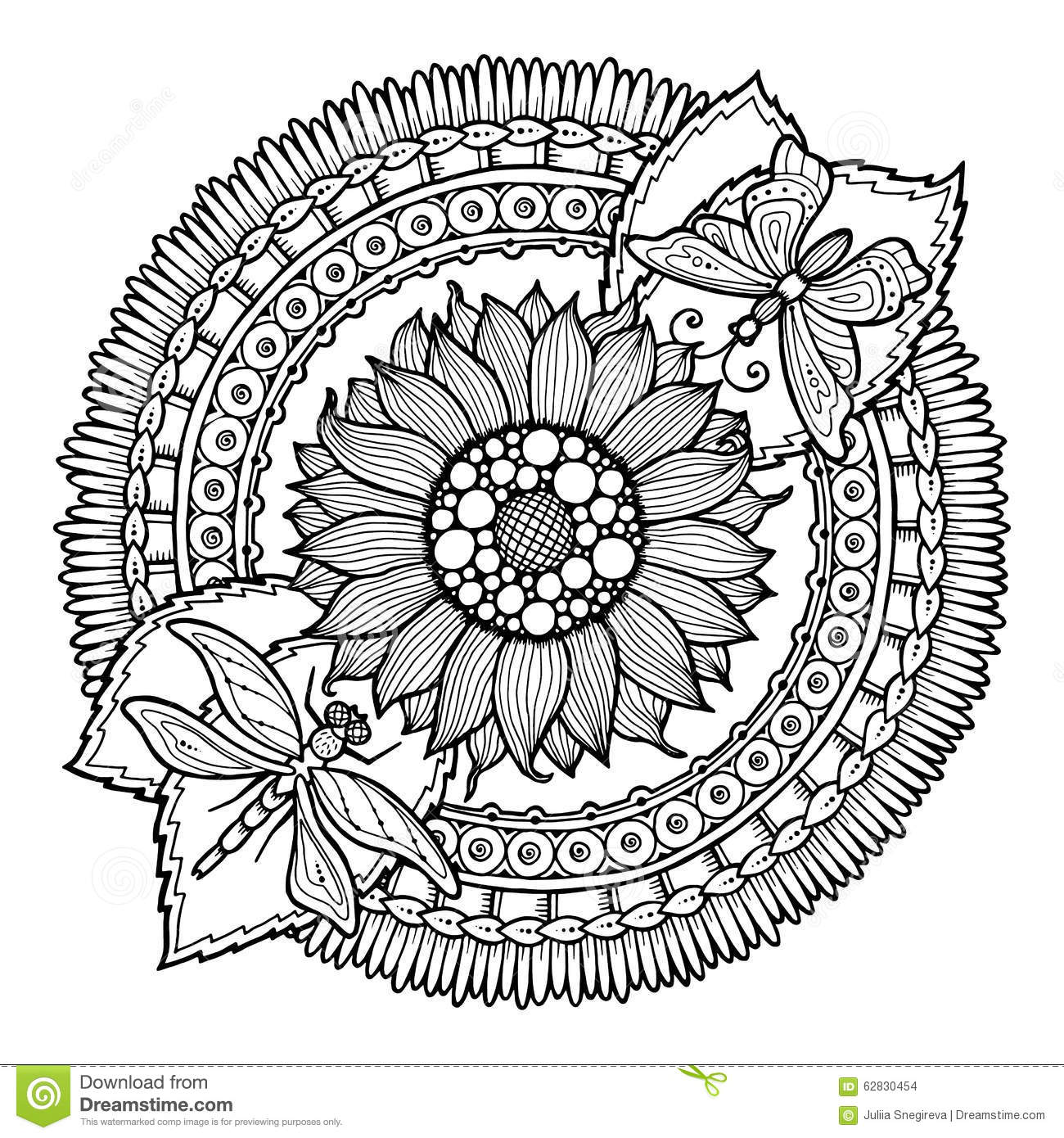 Circle Summer Doodle Flower In Mandala. Stock Vector ...