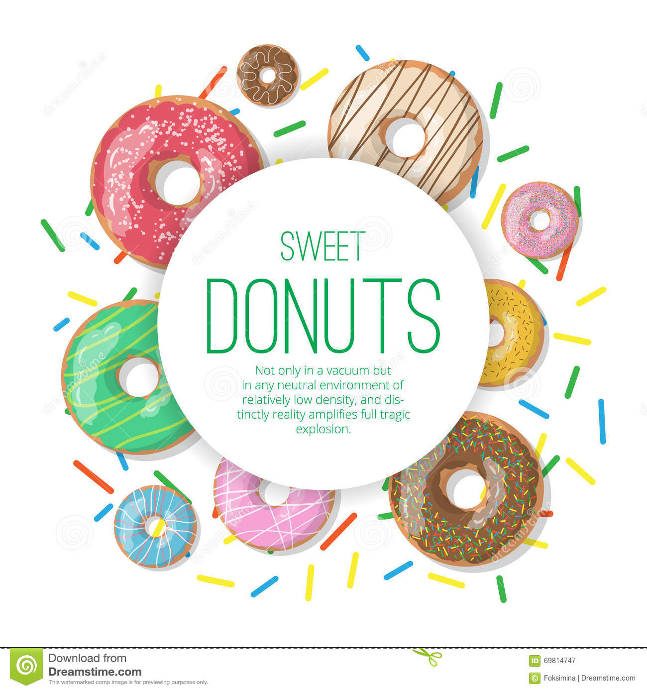 Cartoon Doughnut Factory: Circle Vector Banner With Donuts Illustration Isolated On