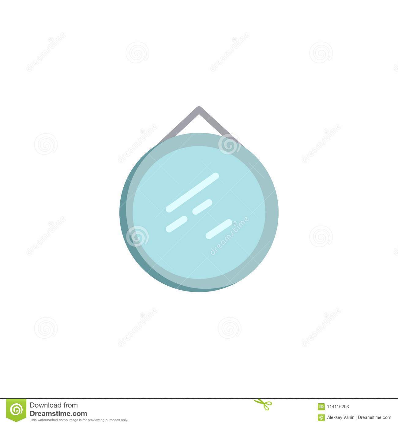 Circle Wall Mirror Flat Icon Stock Vector Illustration Of