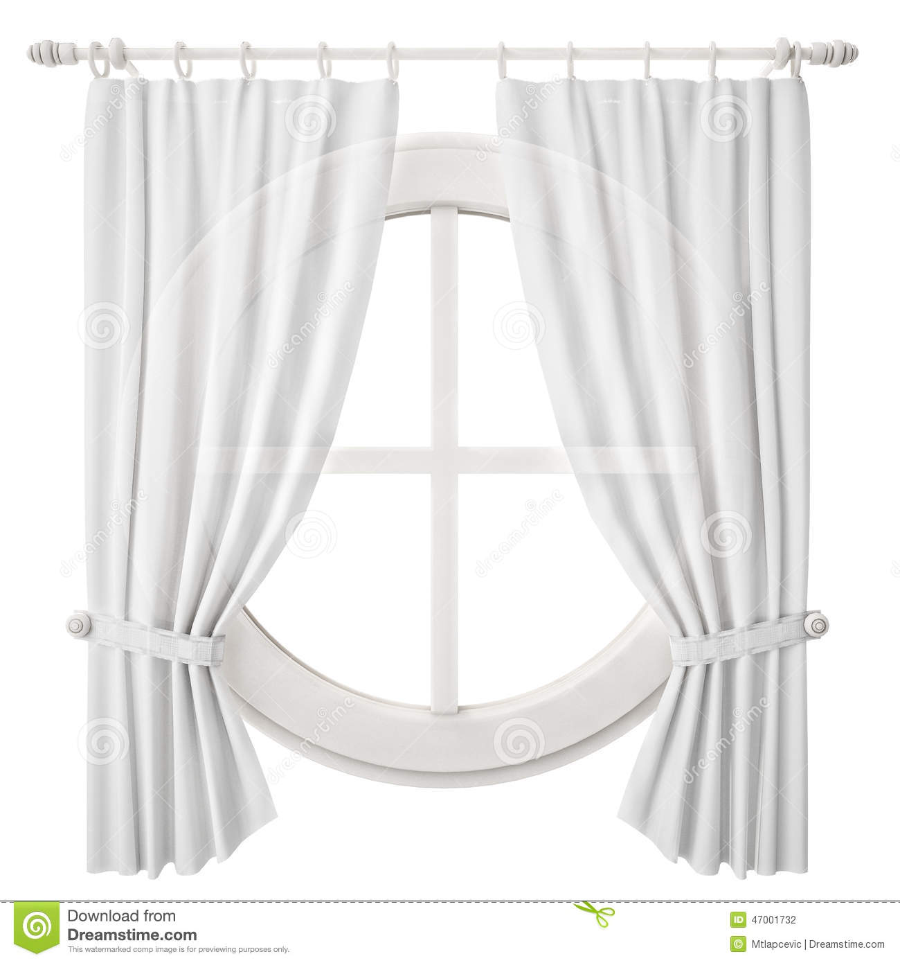 Circle Window Frame With Curtain Isolated On White Background ... for Window With Curtains Illustration  45gtk