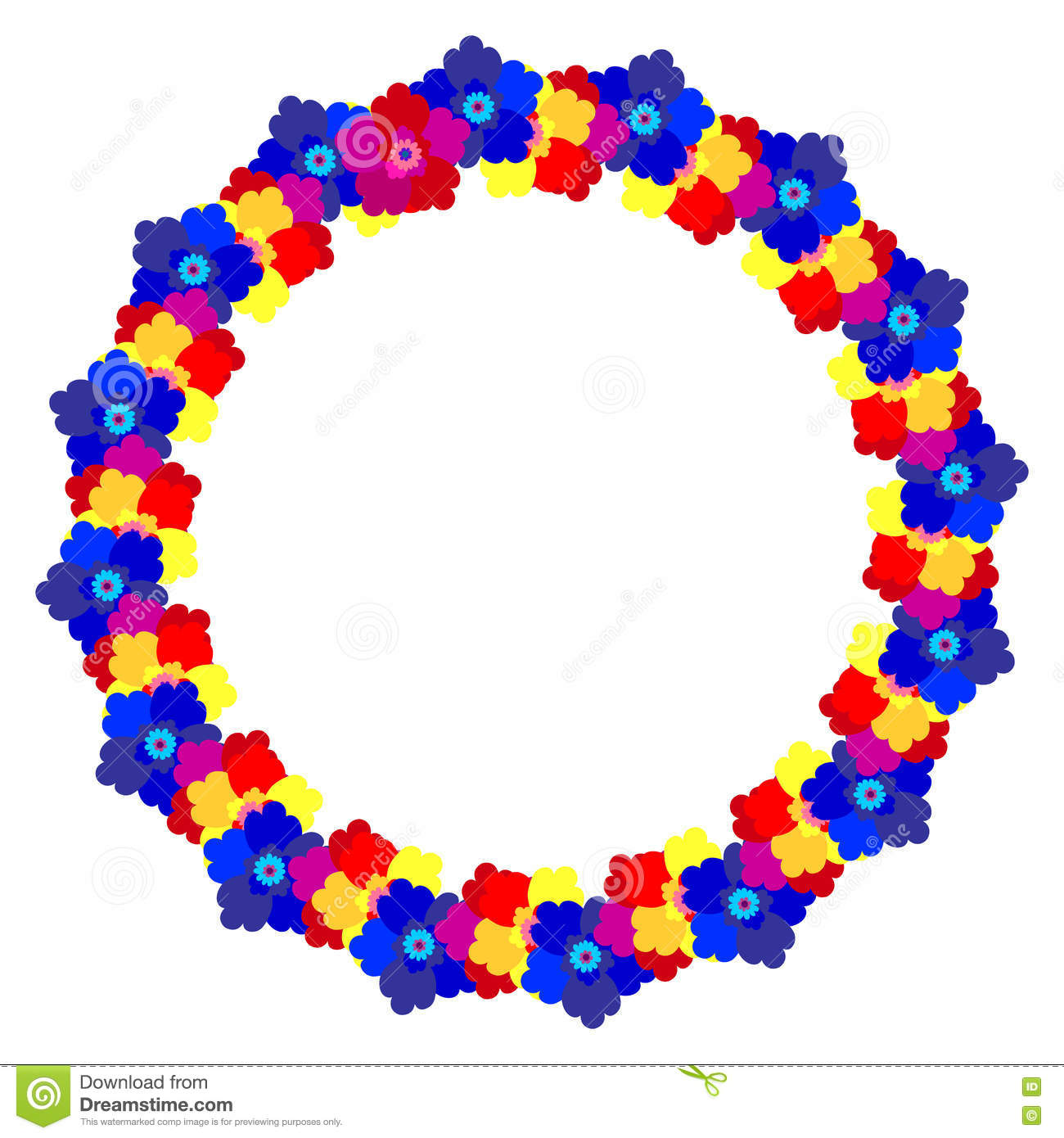 b05e04d091 Flower frame. Circle wreath of different blossoms. Colourful selection of  flowers on white. Decoration. Cartoon design in flat.