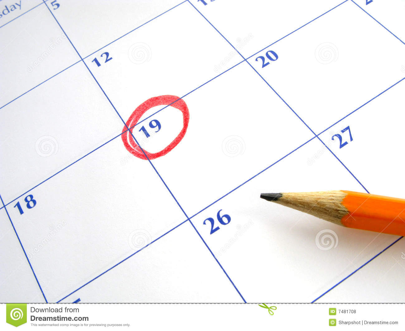 Circled Date On A Calendar. Royalty Free Stock Photos - Image: 7481708