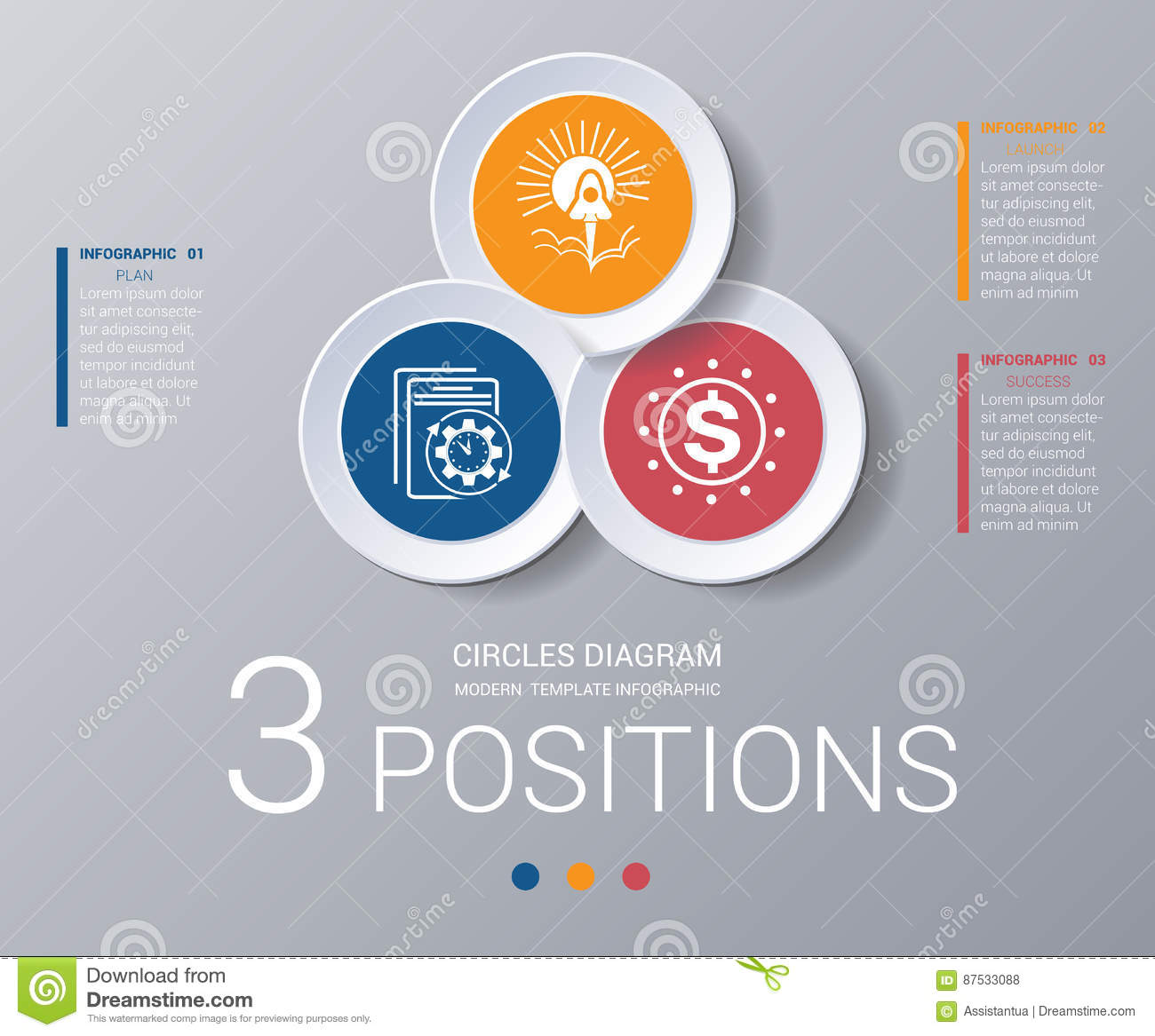 circles diagram elements template infographics 3 positions stock