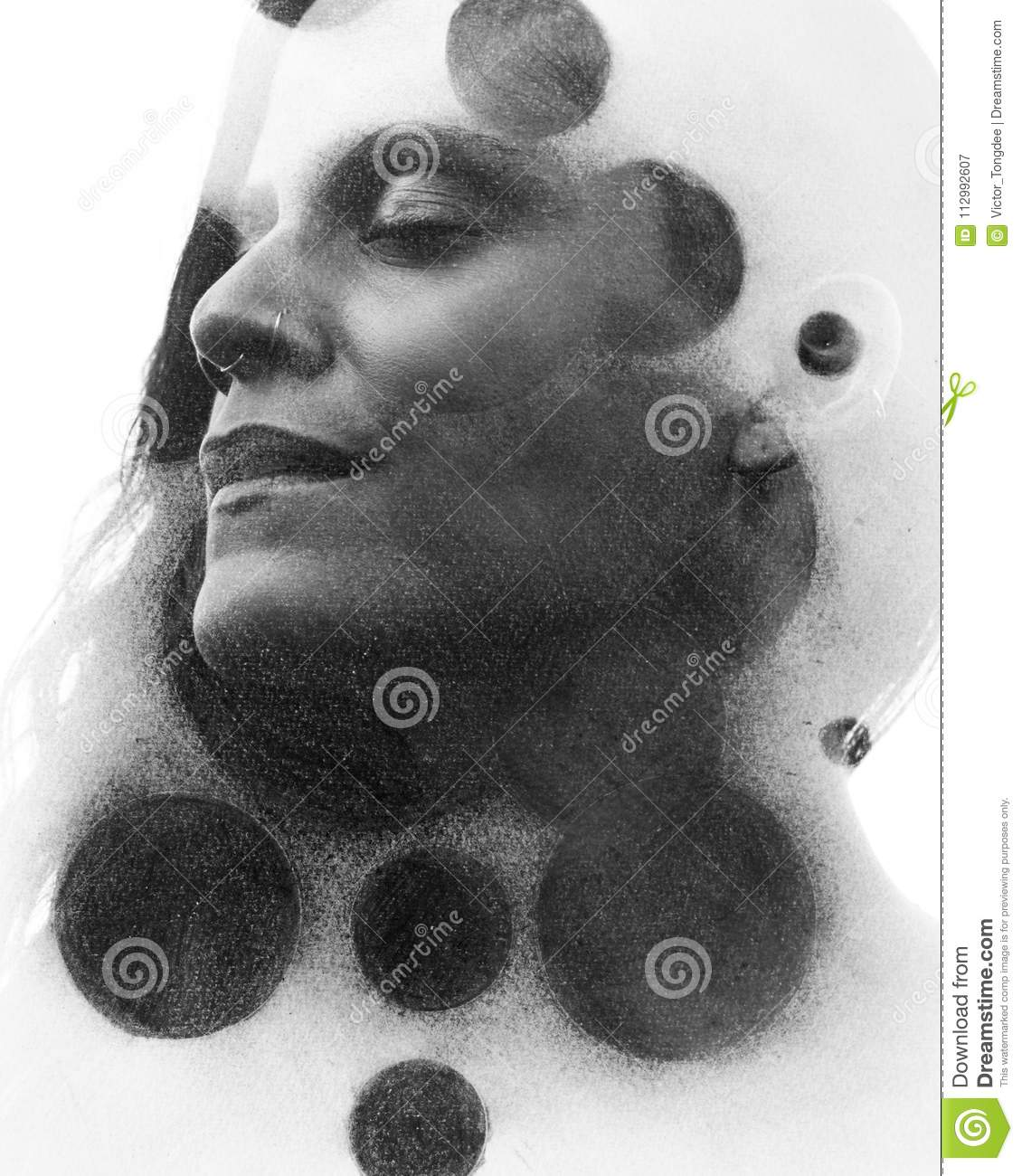 Paintography Double Exposure Charcoal Drawing Combined With