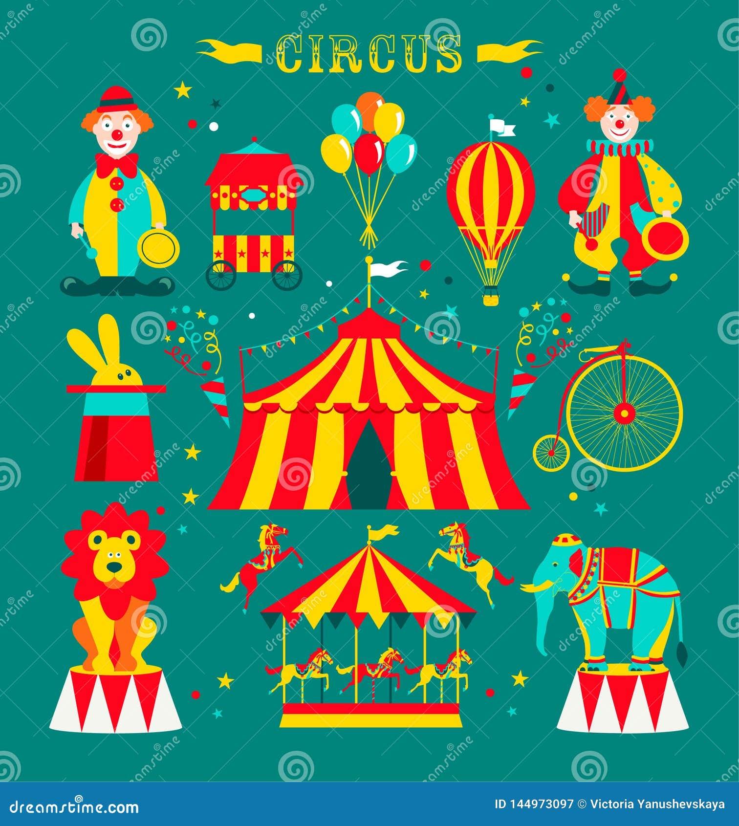 Circo fijado con los payasos, el elefante, el león, el carrusel, la bici y el conejo en sombrero
