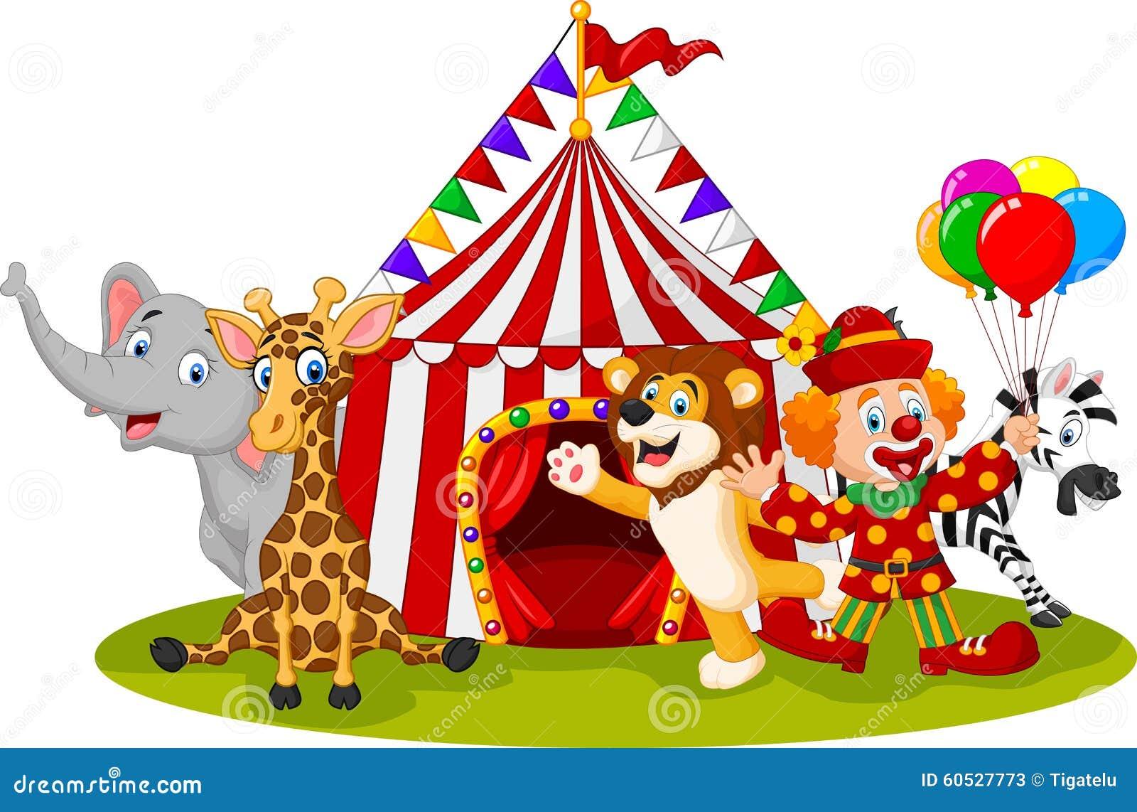 Circo y payaso animales felices de la historieta