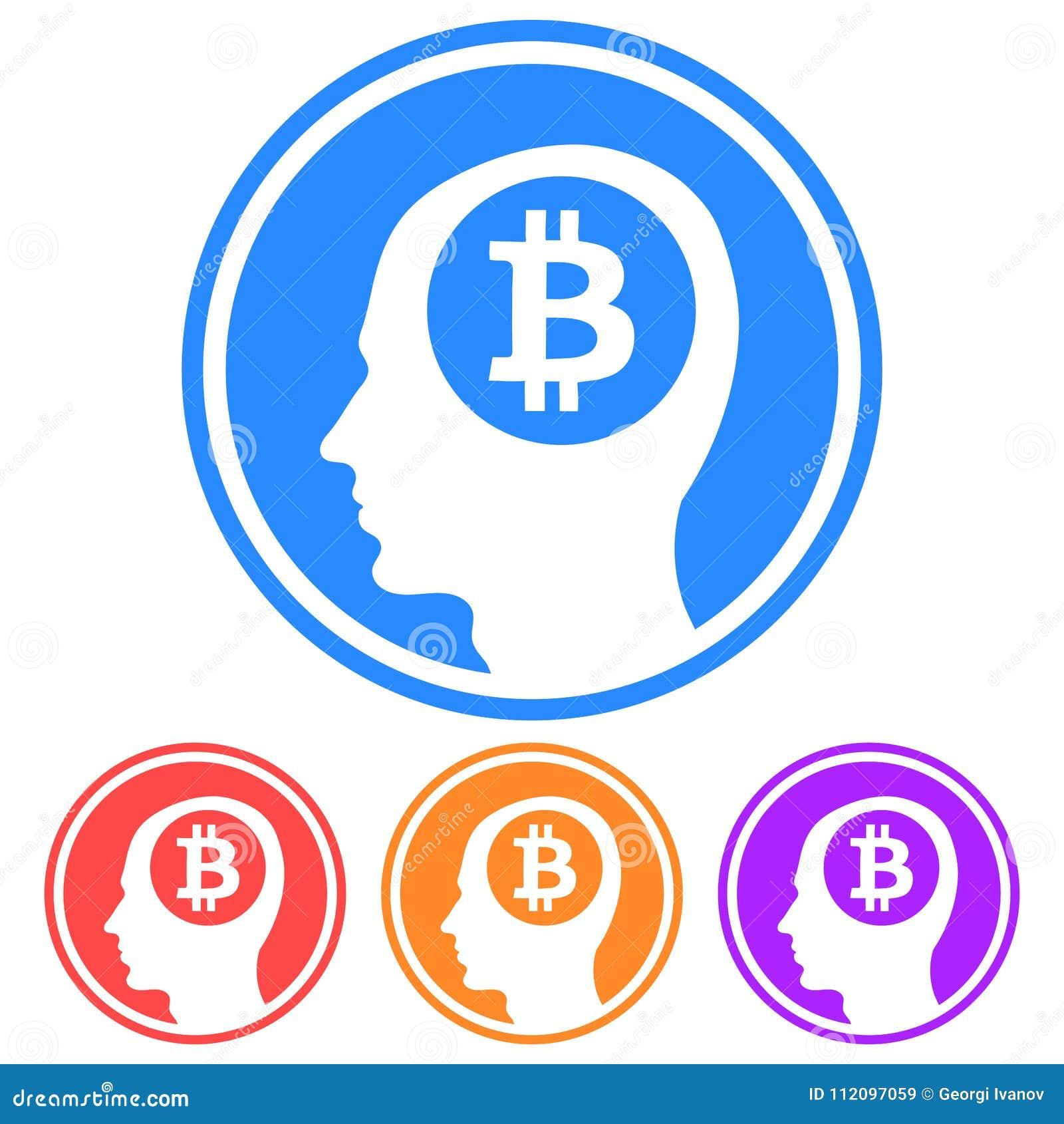 Circolare, pensiero piano all icona del bitcoin Profili la siluetta capa con un logo del bitcoin dentro Quattro variazioni