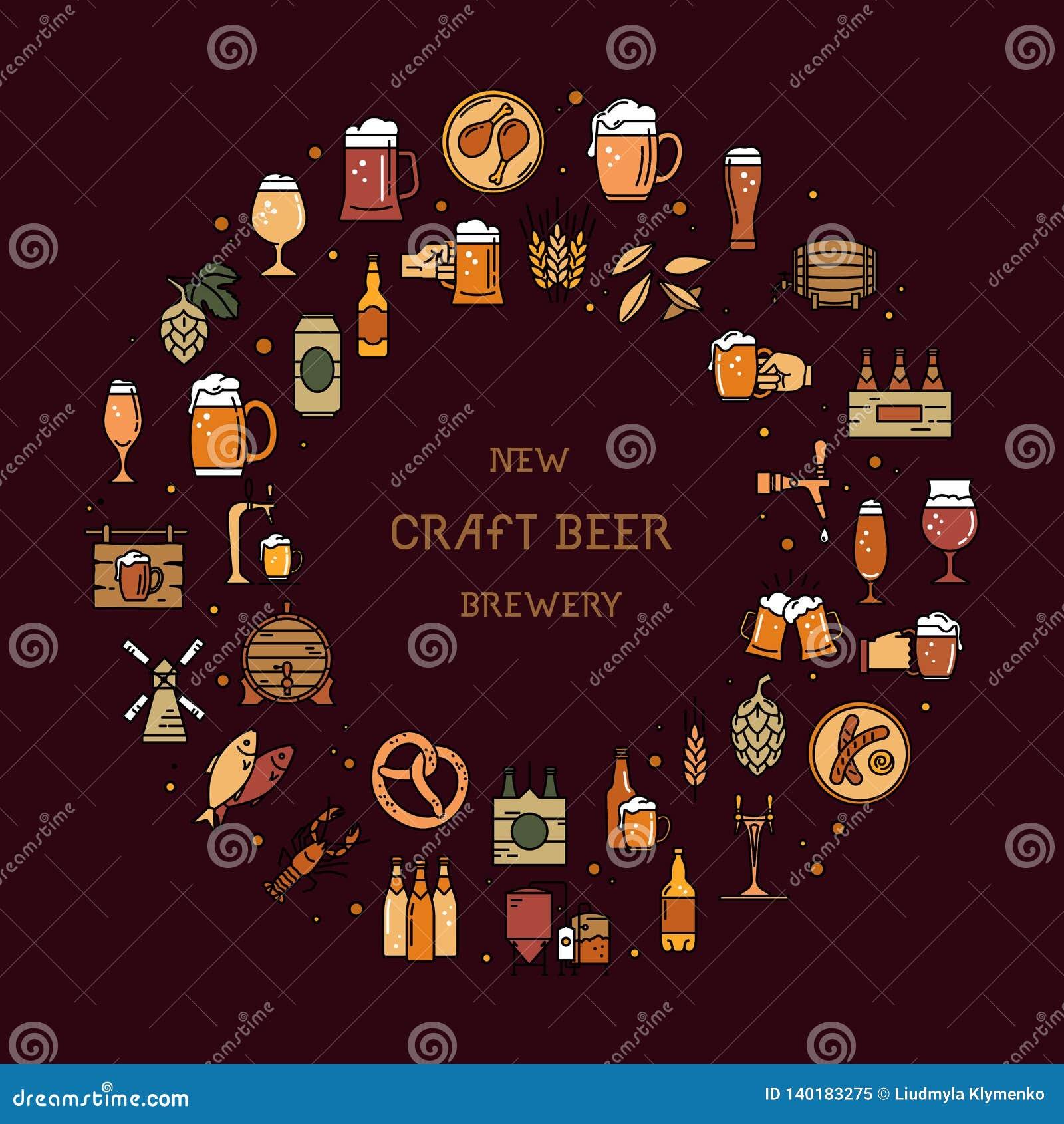 Circolare un grande insieme delle icone variopinte sull argomento di birra