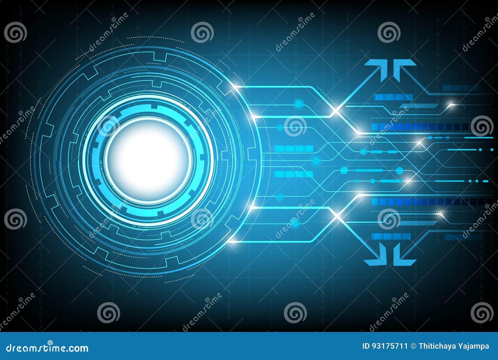 Circondi il vettore astratto del fondo di ciao-tecnologia, affare digitale con i vari elementi tecnologici