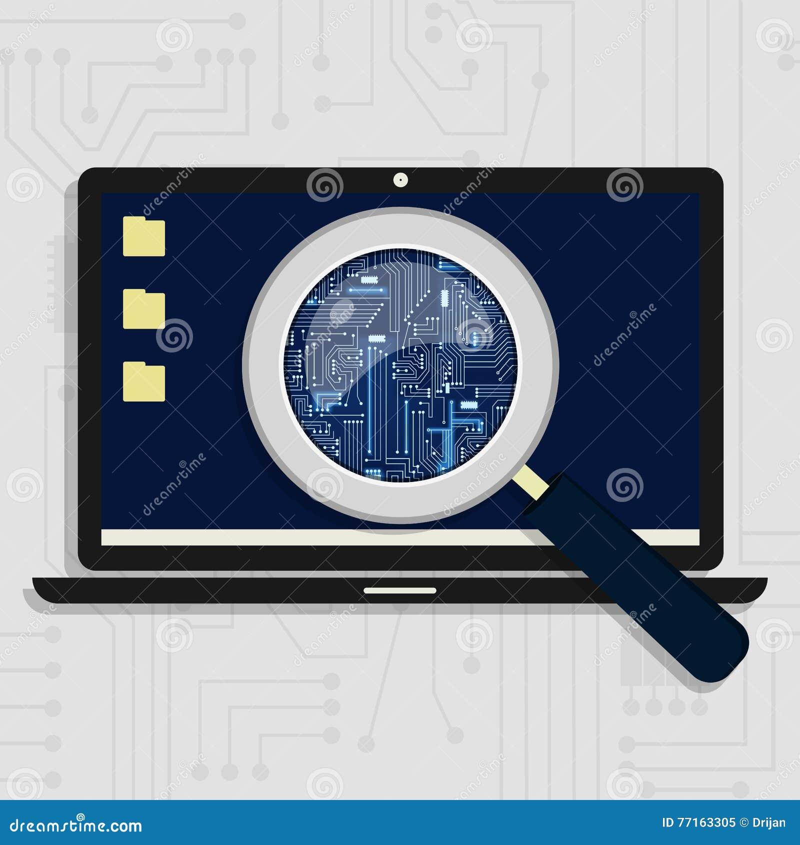 Circuit électronique agrandi sur l ordinateur portable