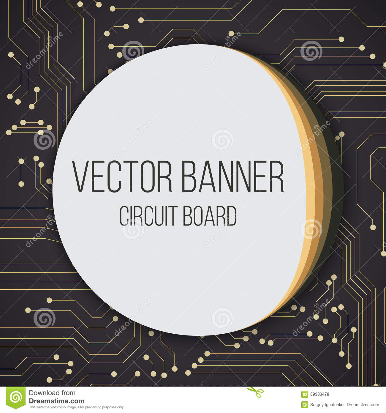 Circuit Blue Black Board Background With Round Banner And Text Label