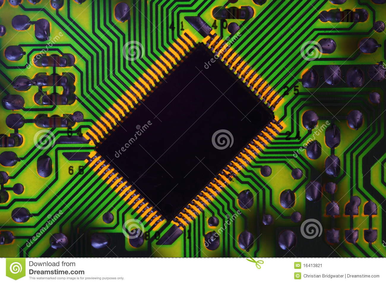 Circuit Board Stock Image Of Electrical Chip 16413821 Computer With Electronics Components Royalty Free Photo